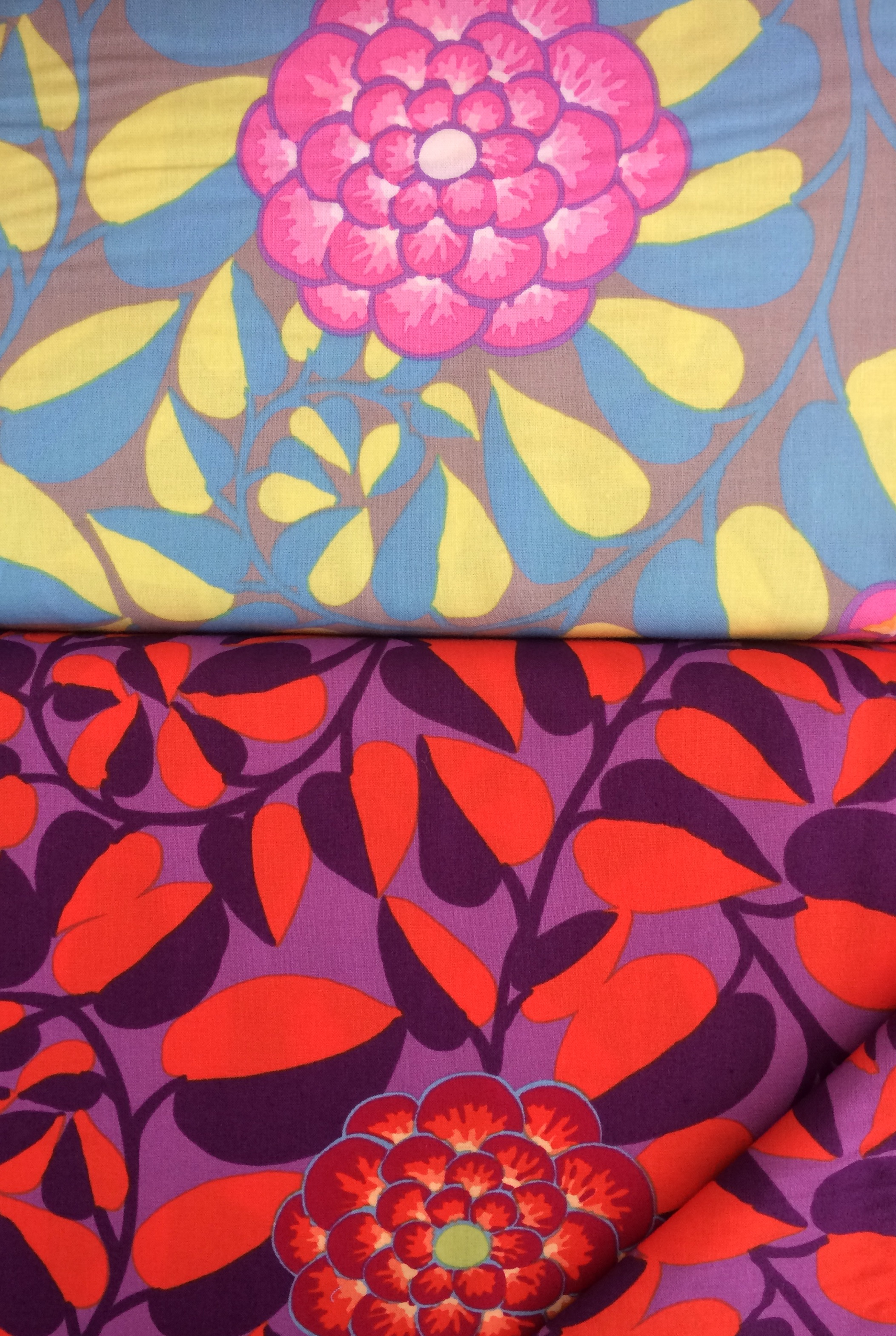 A couple of big bold florals in two different colour ways