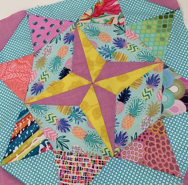 Heather's finished block is a fantastic combination of colour and print. It's fabulous!