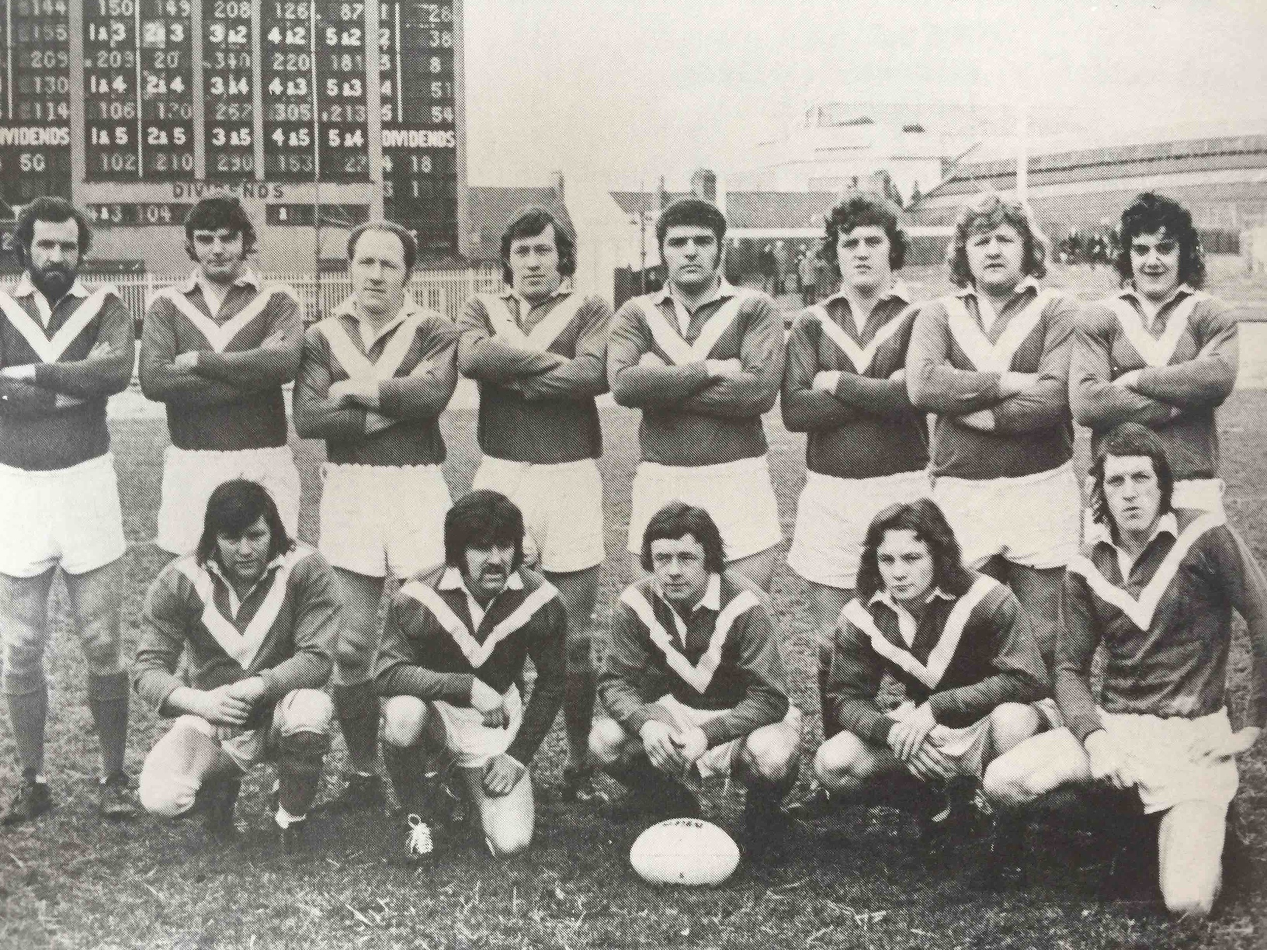 Roger Millward, with ball, captains the 1973-74 Hull KR side.