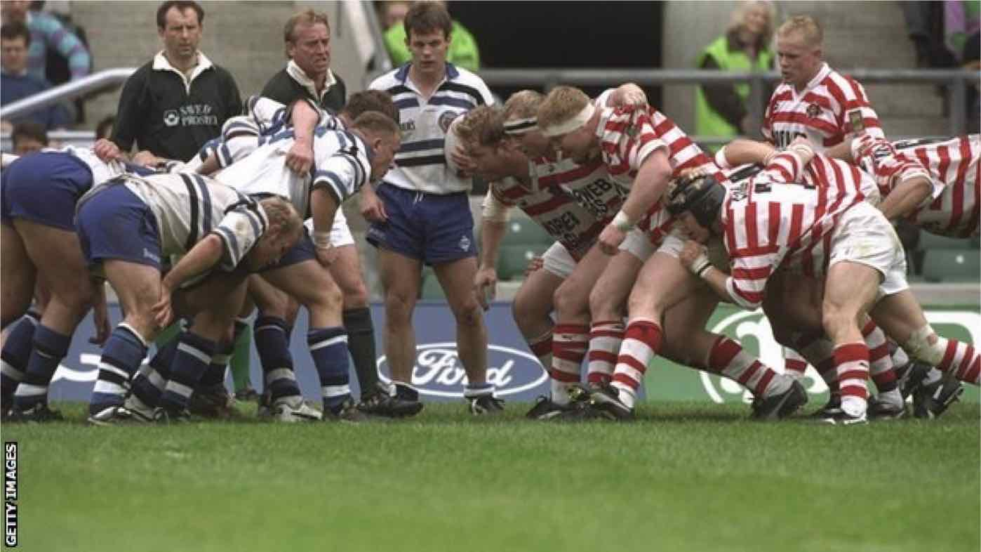 Not the shape of things to scrum: Wigan v Bath 1996.