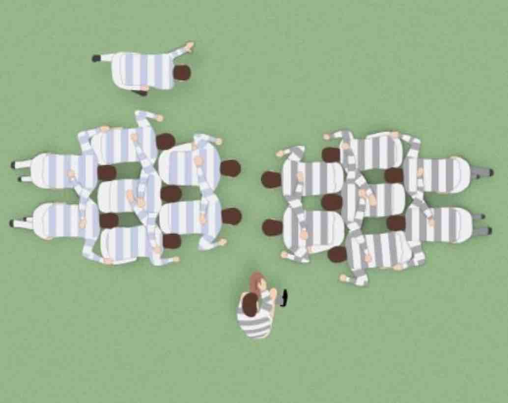 The classic New Zealand 2-3-2 scrum formation.