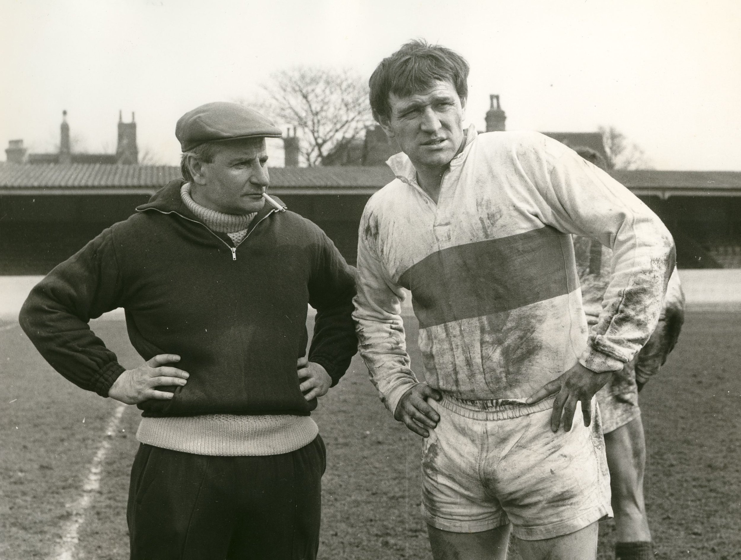 Lindsay Anderson and Richard Harris at Wakefield Trinity's  Belle Vue ground.
