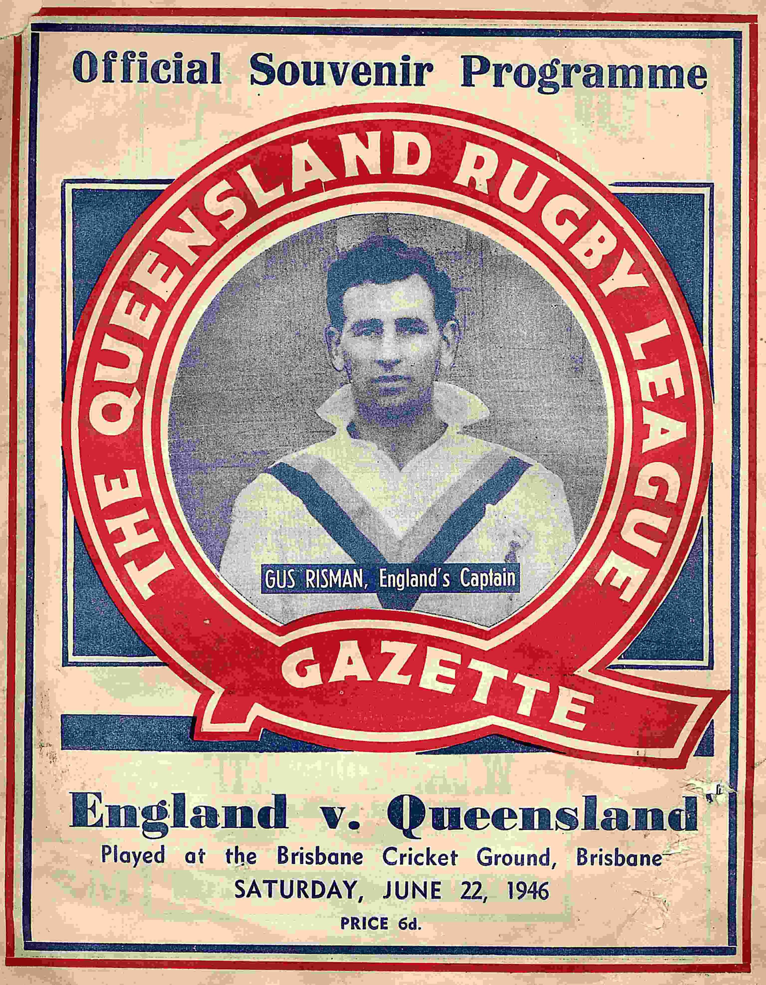 Gus Risman as captain of the 1946 Lions' Tour