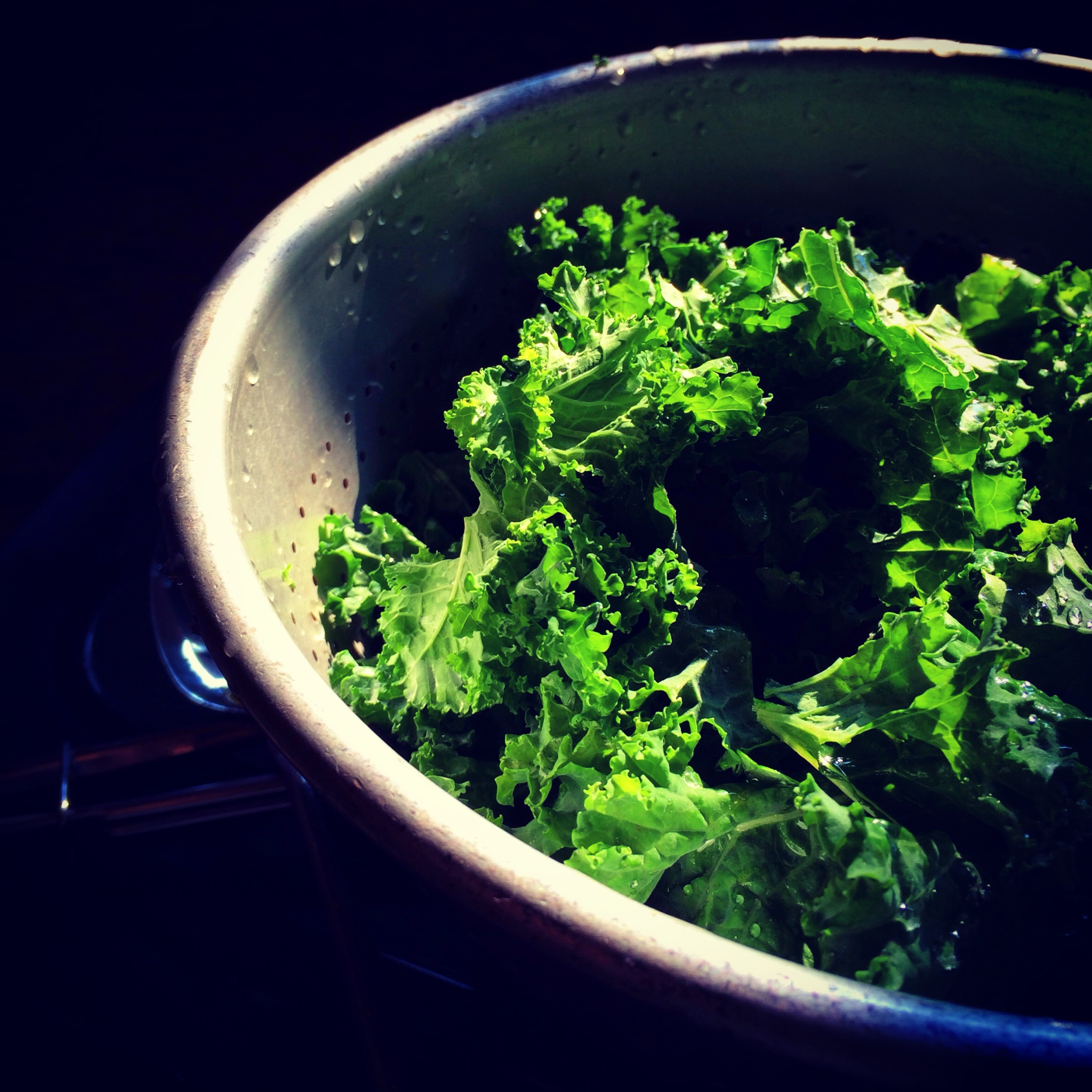 Kale leaves, waiting to be dressed.