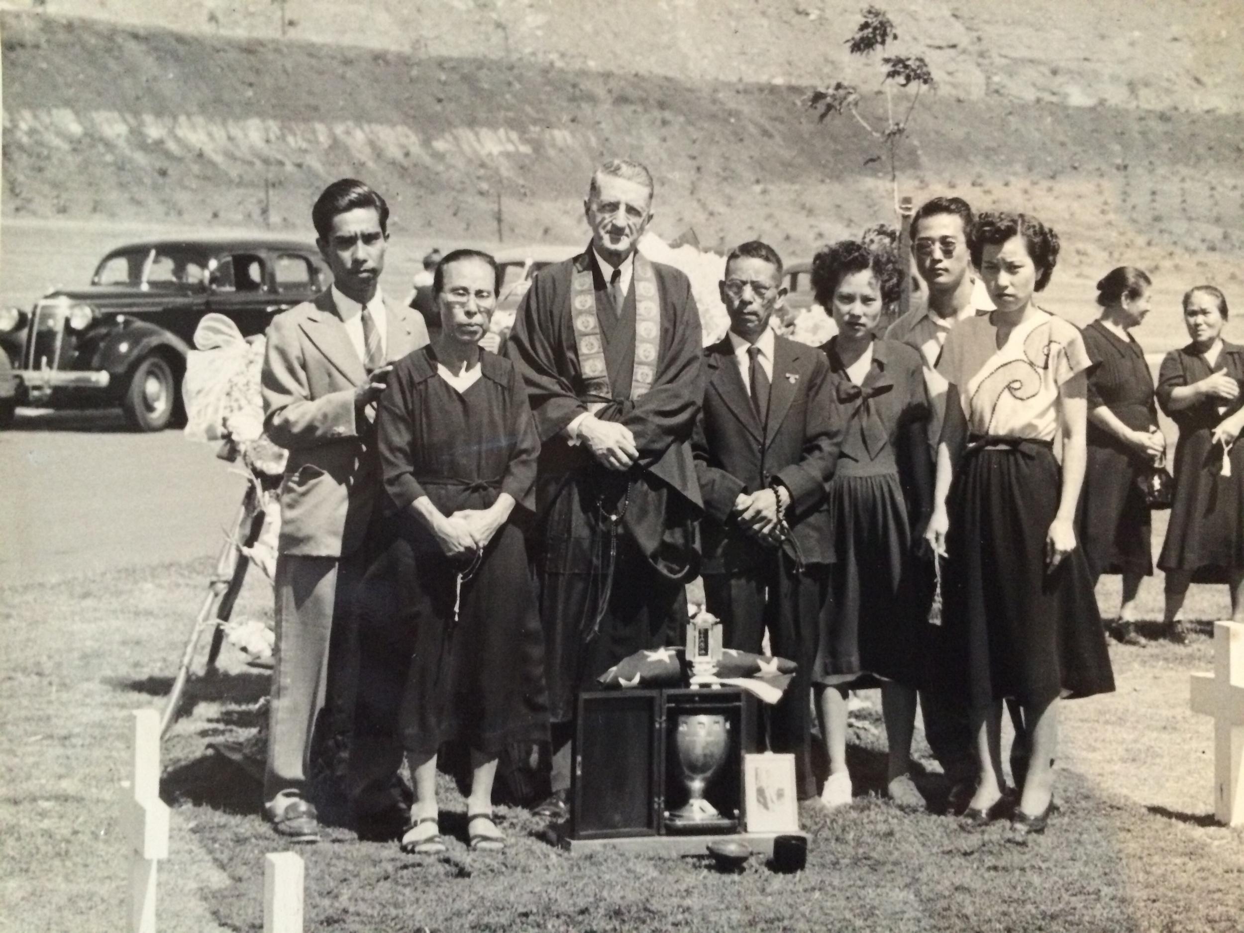 Several members of Carl G. Matsuda's family at Punchbowl Cemetry. Circa 1949.