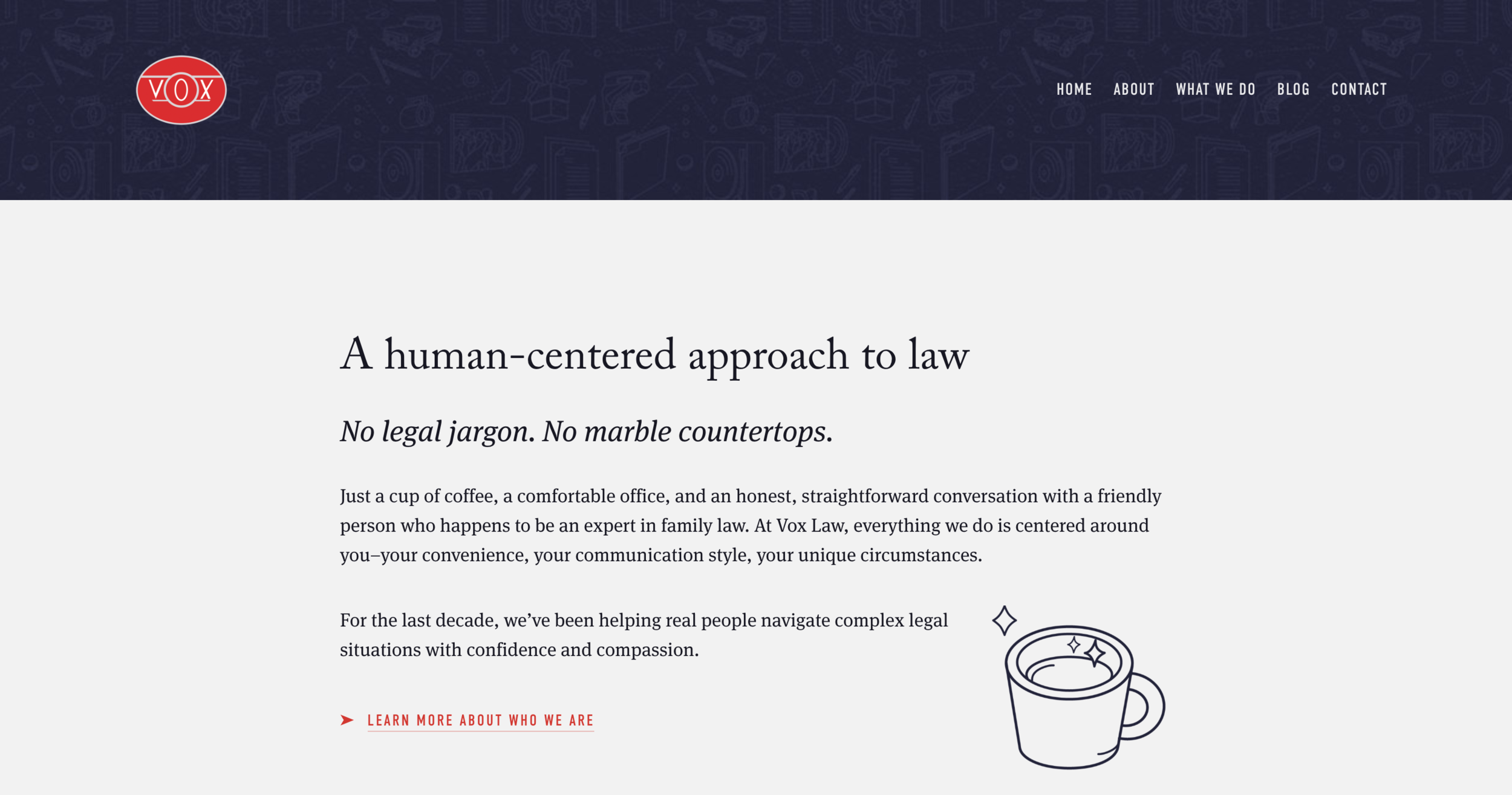 Homepage copy for Vox Law. Click-through to visit site.