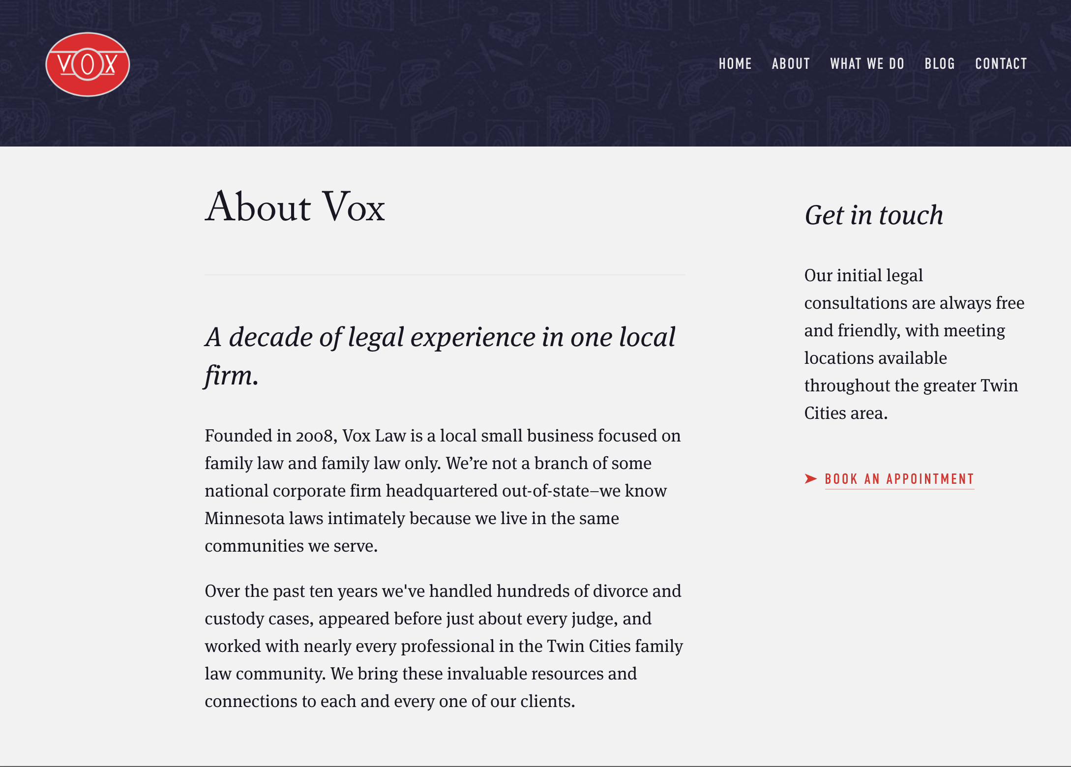 About page copy for Vox Law.