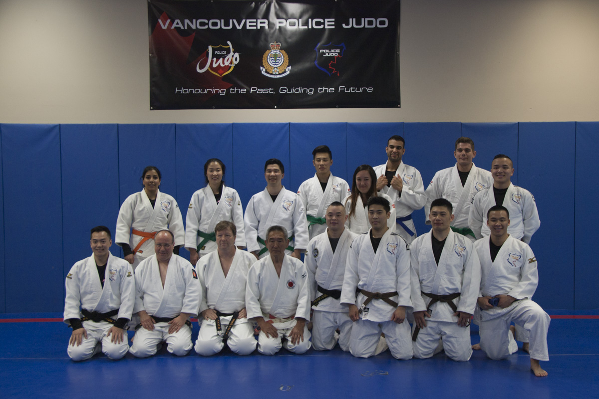 VPD Police Judo Demo Team - May 2018 With Instructor Hiroshi Katanishi.jpg
