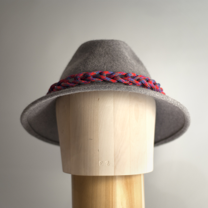 """Front view. Brim is 3"""" sloped with wire sewn in so it can be reshaped."""