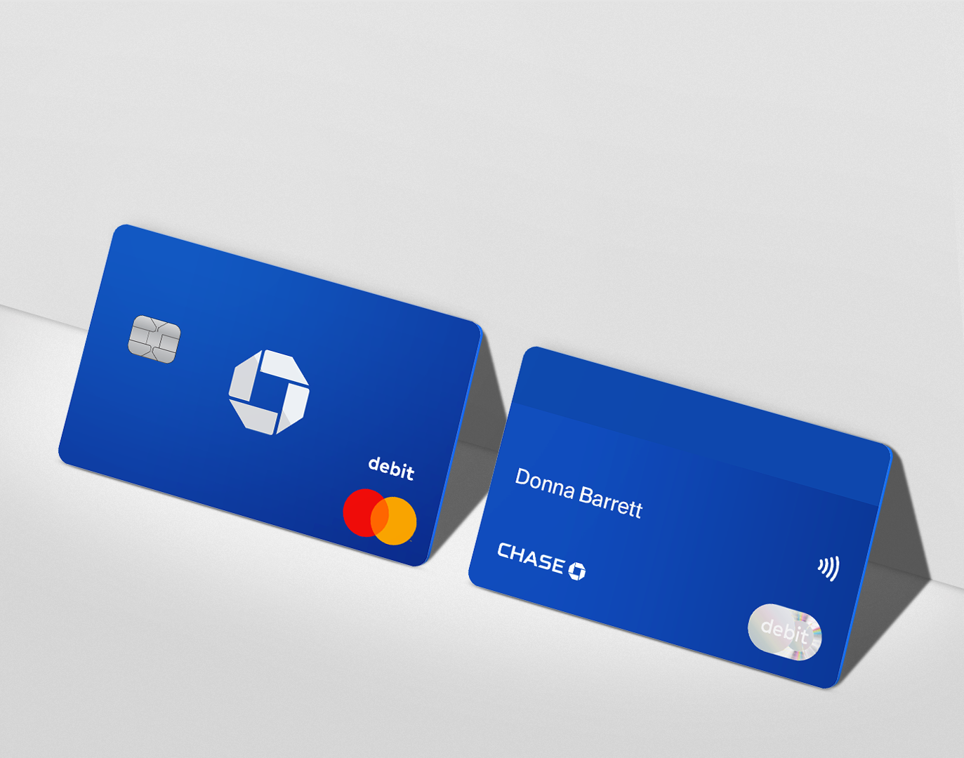 Standard plastic debit card with simplified back