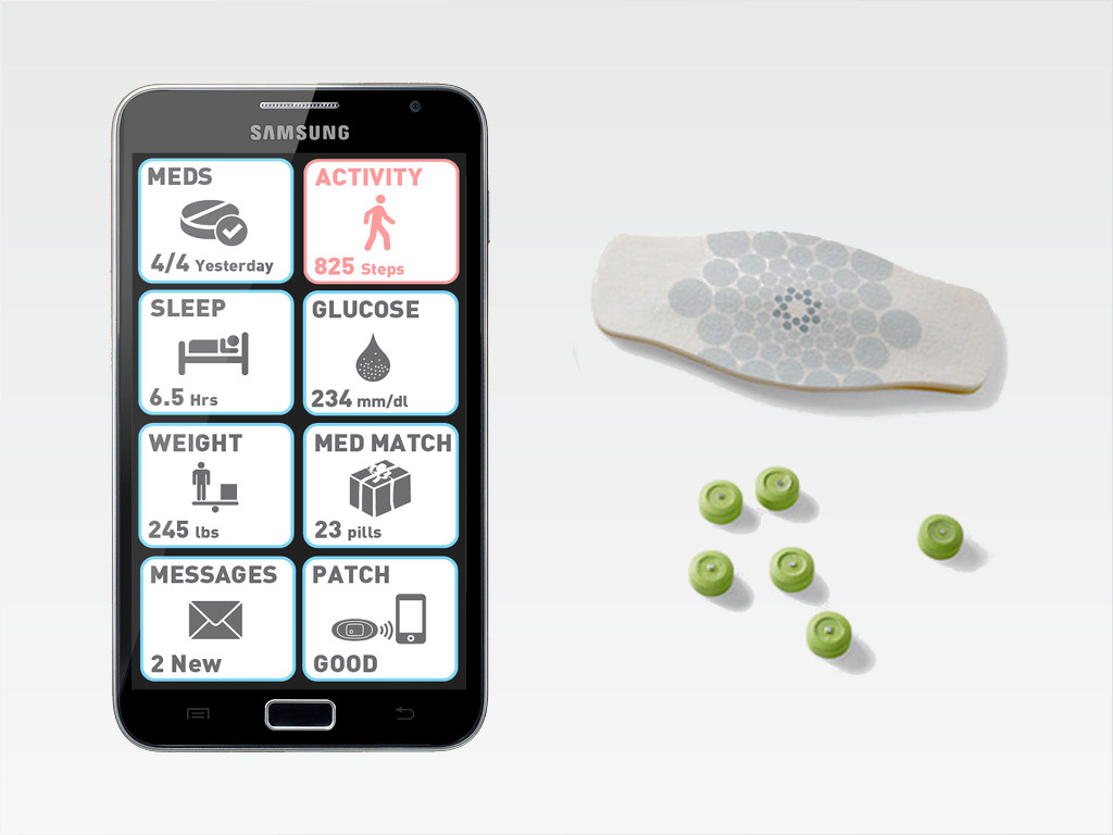 Proteus System  - A chip on each pill communicate via a patch to an app on your phone.