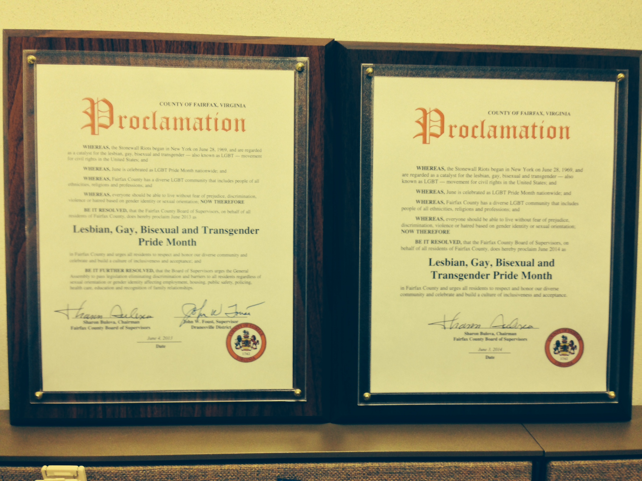 2013 and 2014 Proclamations designating June as LGBT Pride Month in Fairfax County