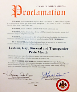 2014 Proclamation designating June LGBT Pride Month in Fairfax County