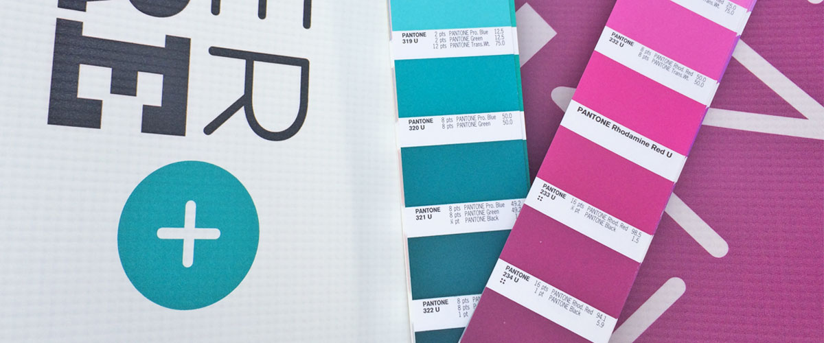 I used these strips to choose the correct PANTONE blue and purple.