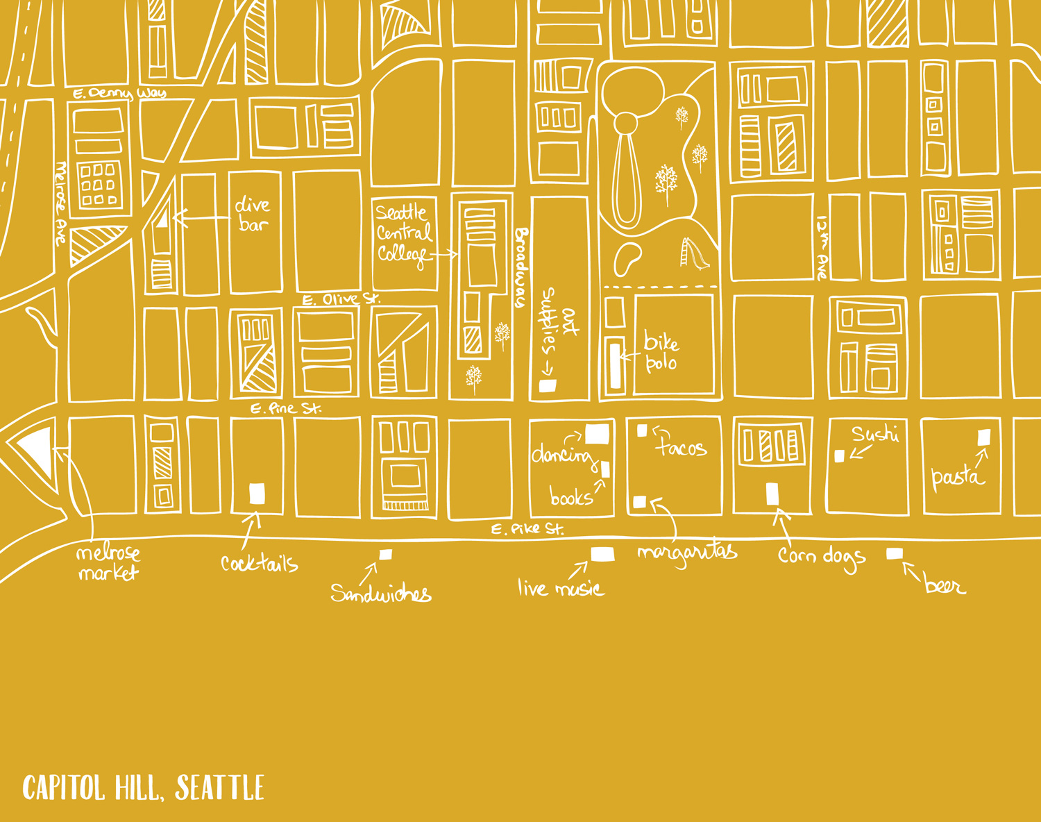 Map of Capitol Hill neighborhood in Seattle, WA by Laurie Baars