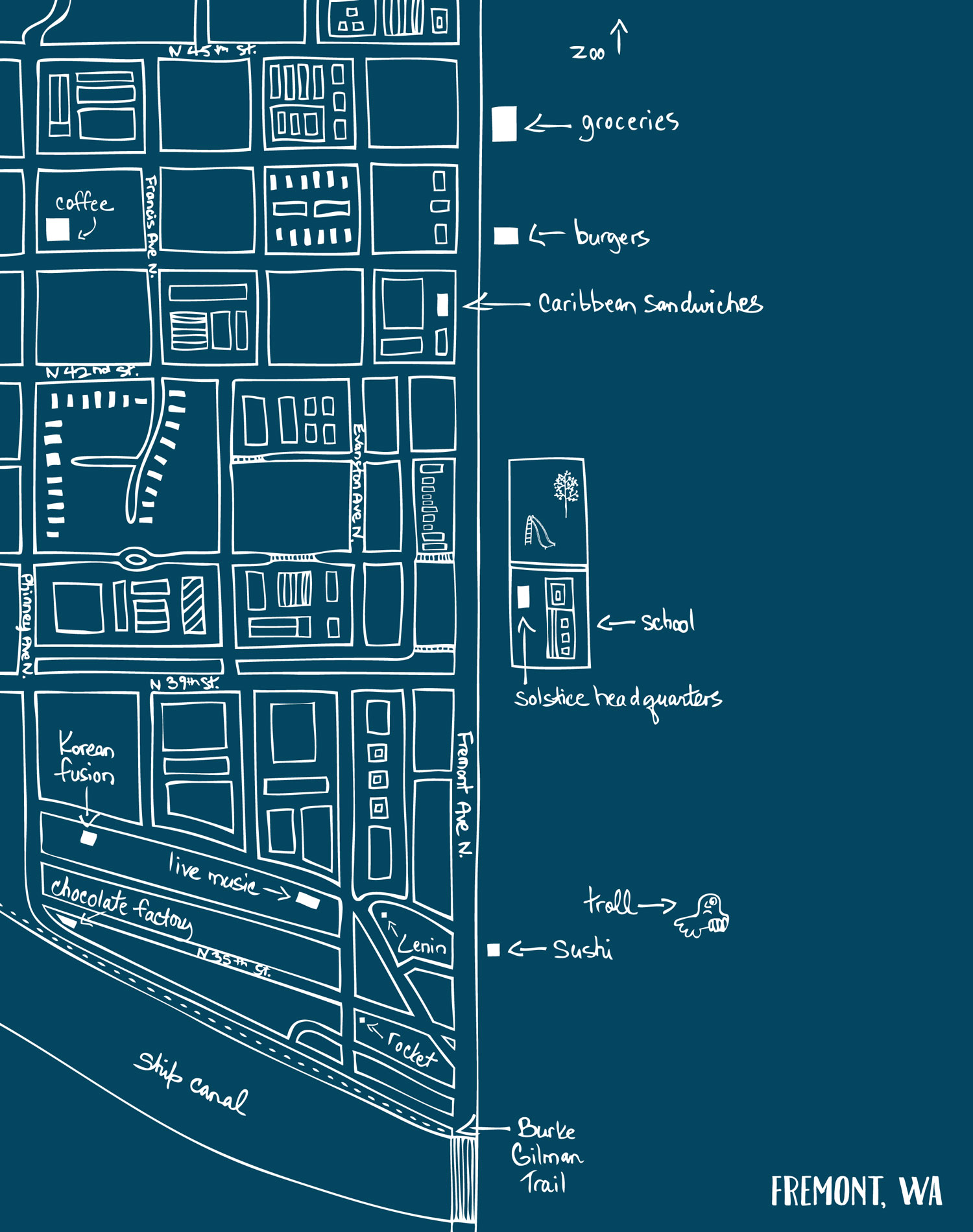 Map of Fremont neighborhood in Seattle by Laurie Baars