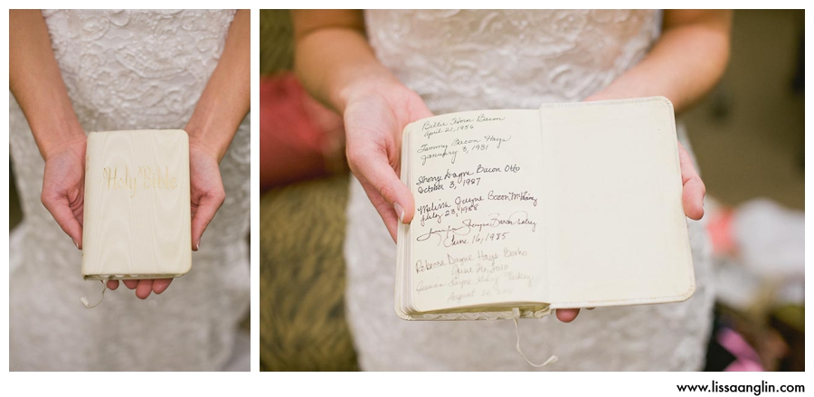 This Bible has been carried by several generations of brides in Jerrica's family. Each bride has signed it once they are wed.