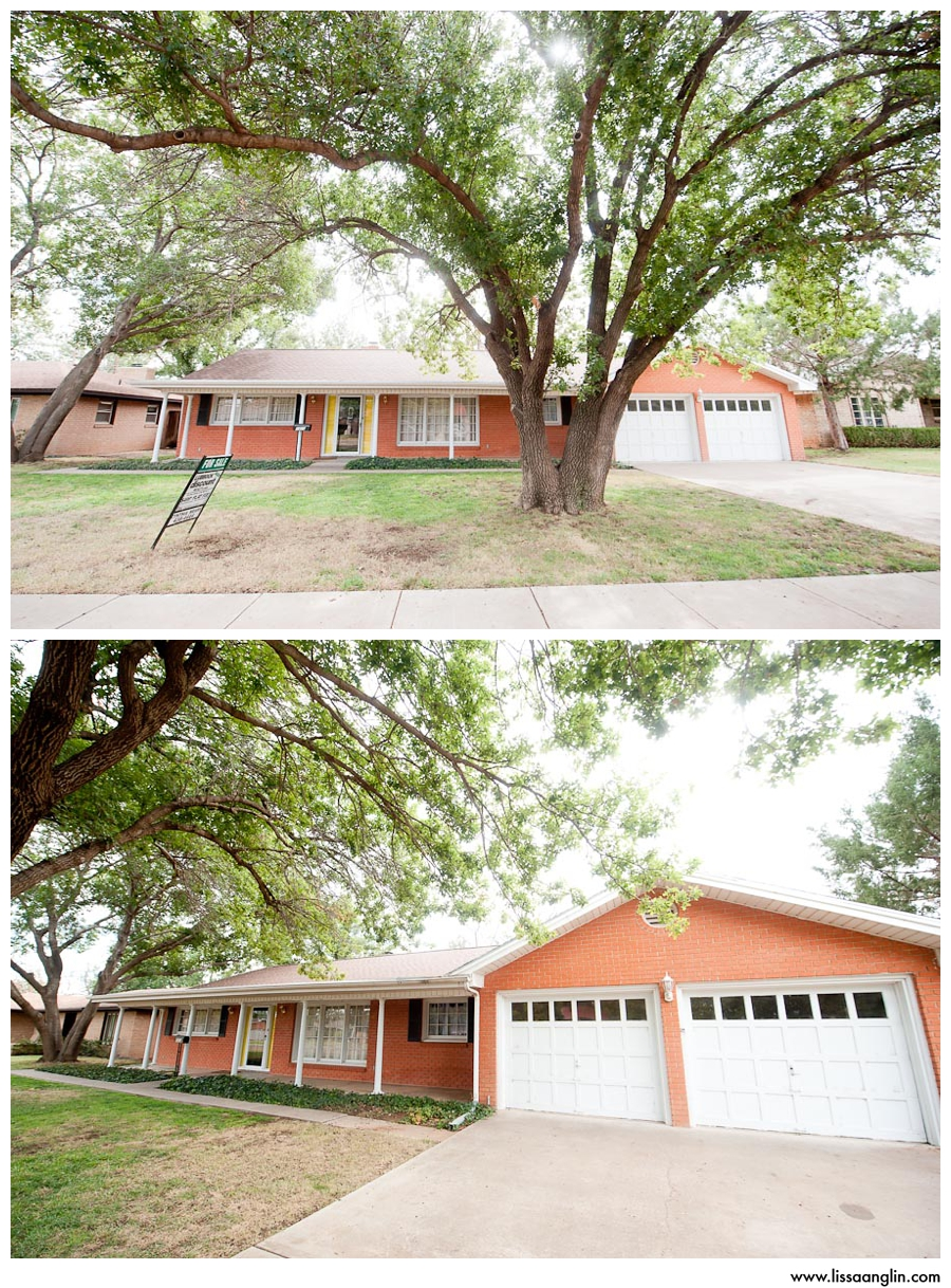 """The exterior. Not super in love with the orange-y brick, and the yellow shutters have already been painted black. They don't look as """"caution tape"""" in this photo as they did in real life, so that had to go! But that tree in the front yard! Knox loved it the second he laid eyes on it."""