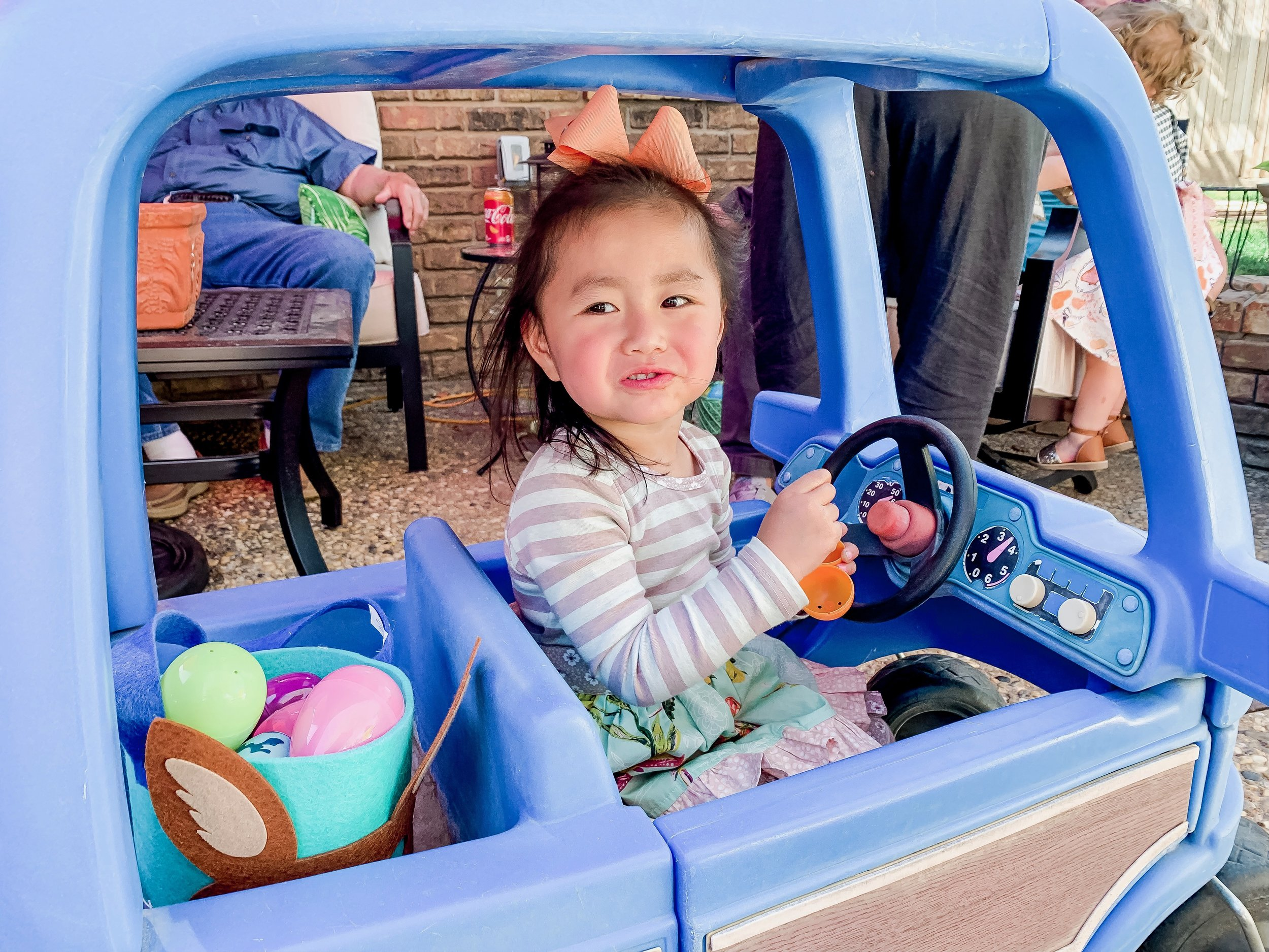 Lucy is a BIG fan of Easter. This was her first and she cracked us all up by settling into this car and proceeding to try to eat allllll the candy.