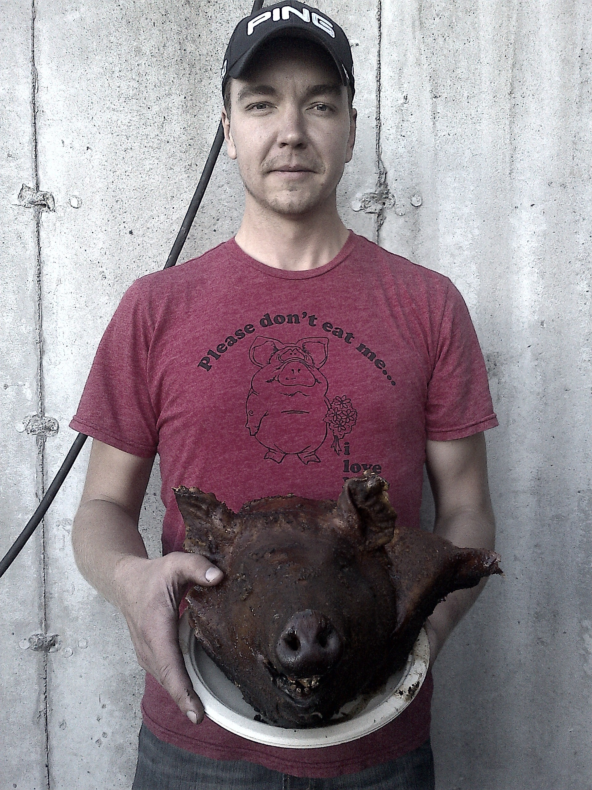 Me with pig head. Not even my cute t-shirt could save this pig...