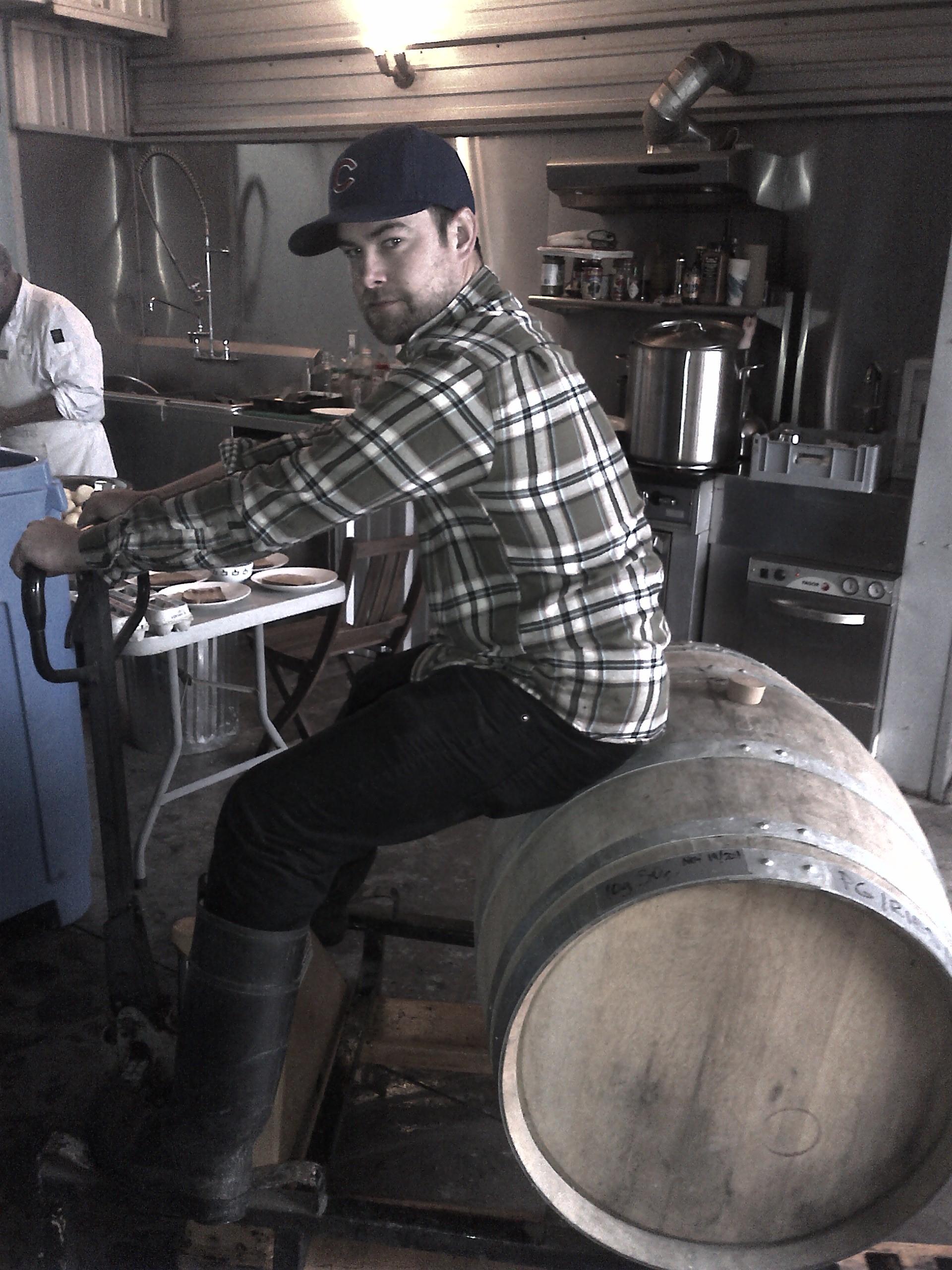 Andrew Sainsbury riding a barrel like its his job.