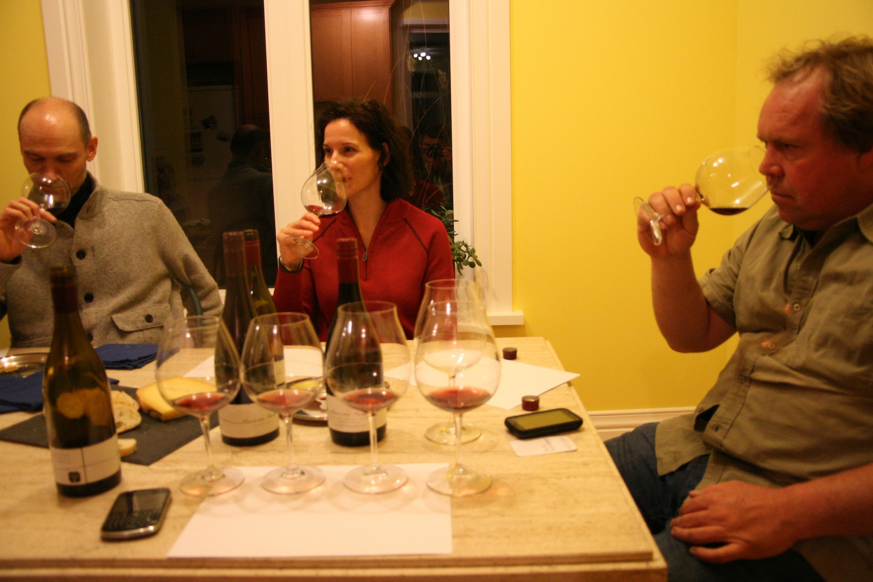 Norman Hardie (right) with his '05, '06, '07, '08 Prince Edward County Pinot Noirs.