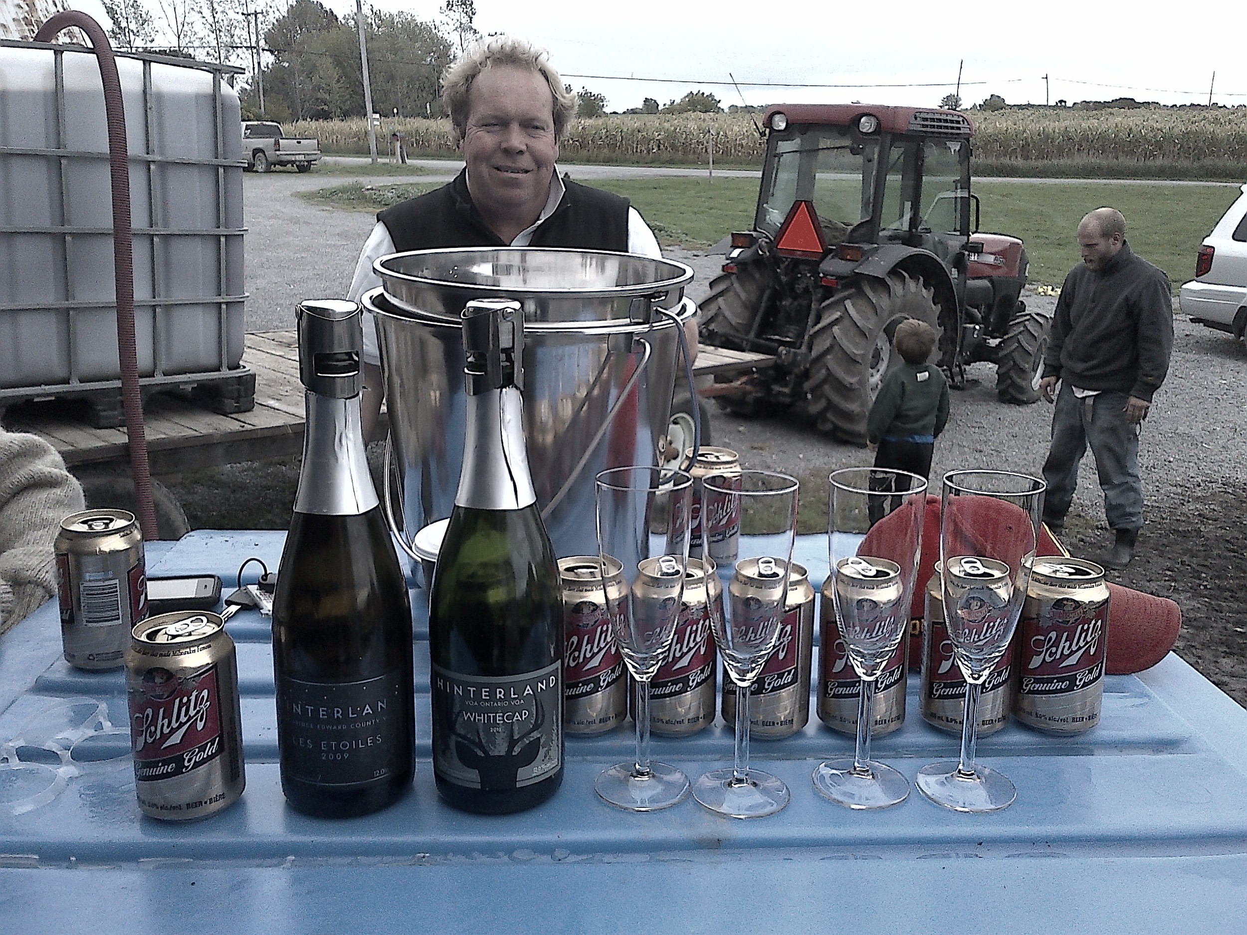 Norm stops by just in time for some afternoon beers and bubbles once the press is loaded...