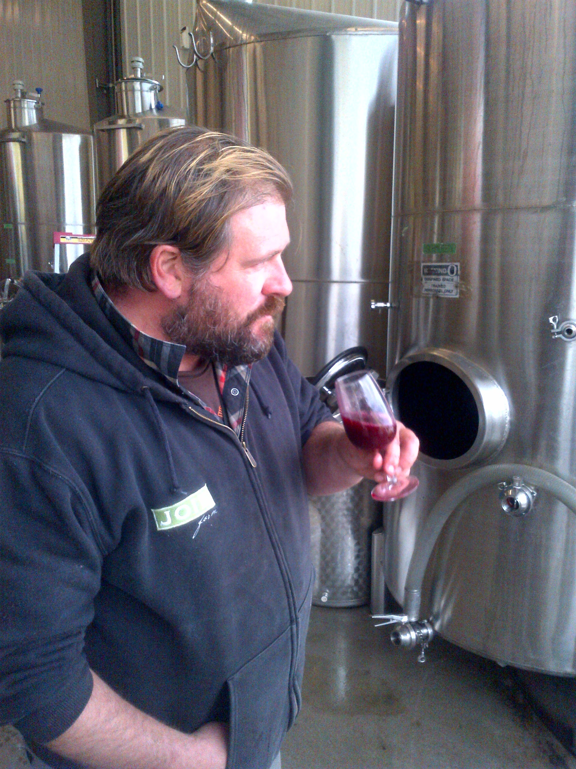 Vineyard manager Robert Thielicke trying out the fresh Gamay juice...