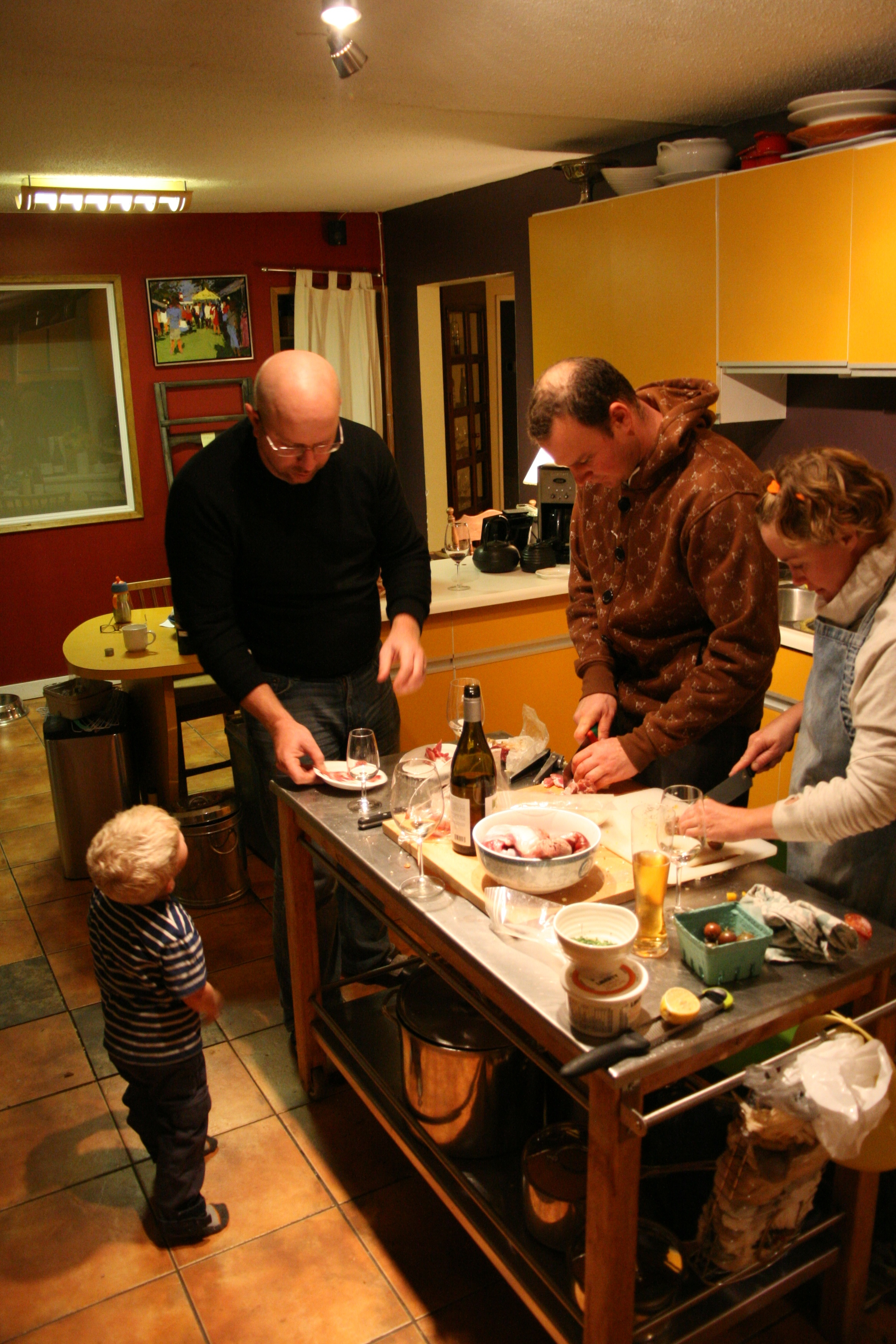 Bustling kitchen prep before dinner...