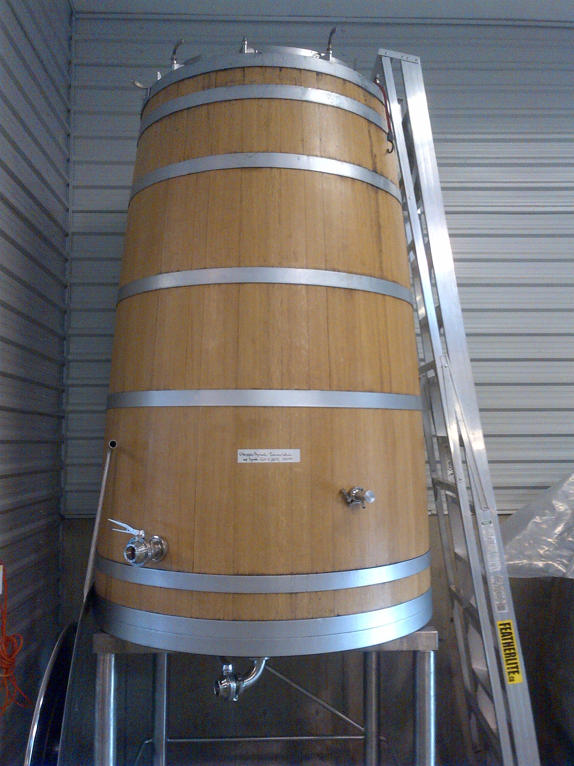 The Fermenator, a French Oak vat David had custom made by Canada's only master cooper that happens to live in Osoyoos.