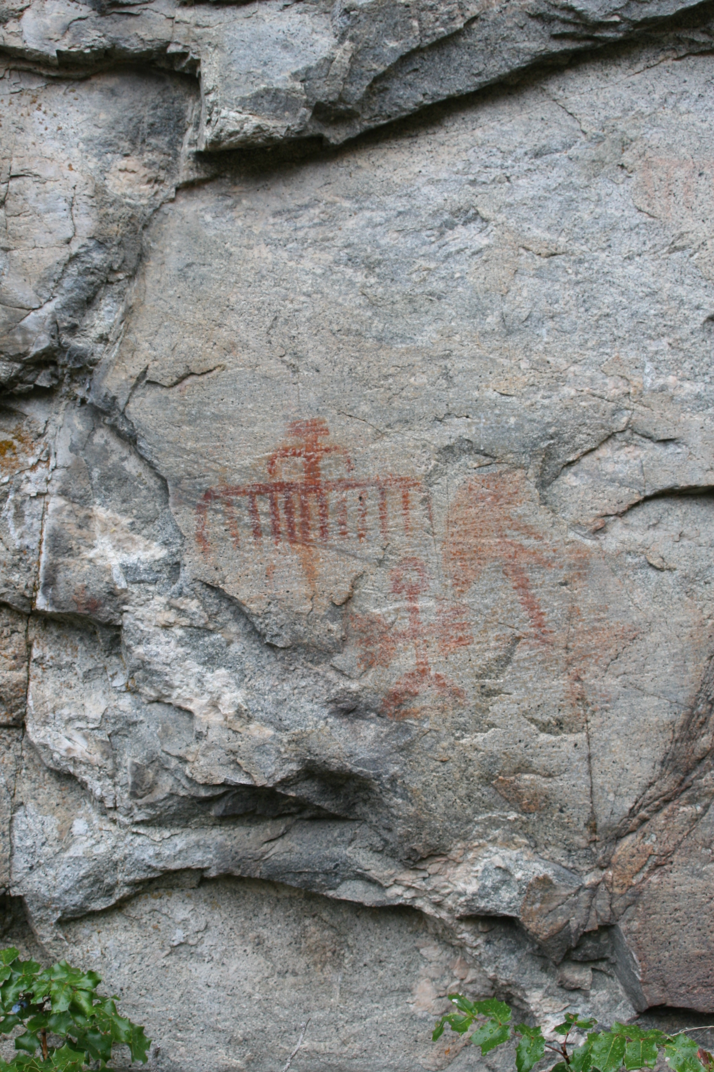 400 year old Native pictographs back in the Bluffs. This inspired the name Painted Rock and Red Icon.