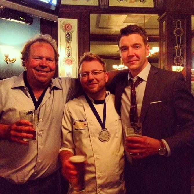 Norman Hardie, Chef Jason Duffy, Andrew Rastapkevicius celebrating Silver