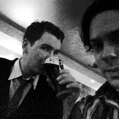 Grainy photo leaked 24 hours before the throwdown. Me allegedly drinking beer with Farber.