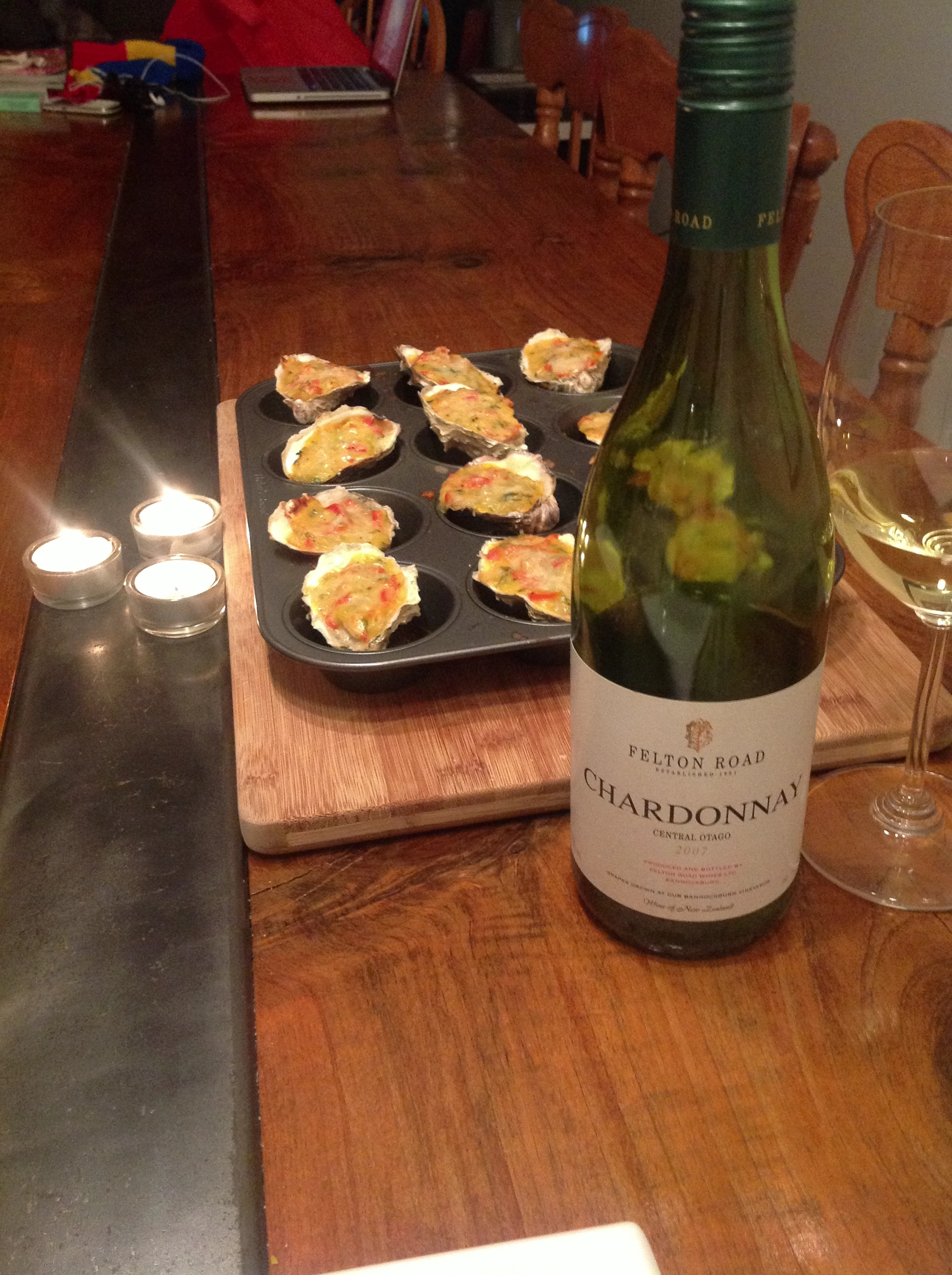 Quiet NYE in, Oysters Bienville from Garden & Gun Magazine with the always outstanding Felton Road Chardonnay. http://gardenandgun.com/article/oysters-bienville