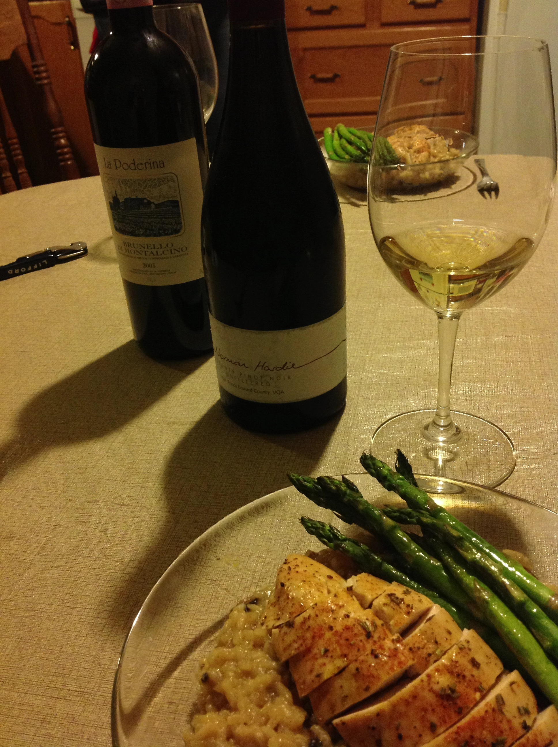 Post-hunting farm dinners: chicken and mushroom risotto and some killer wines...