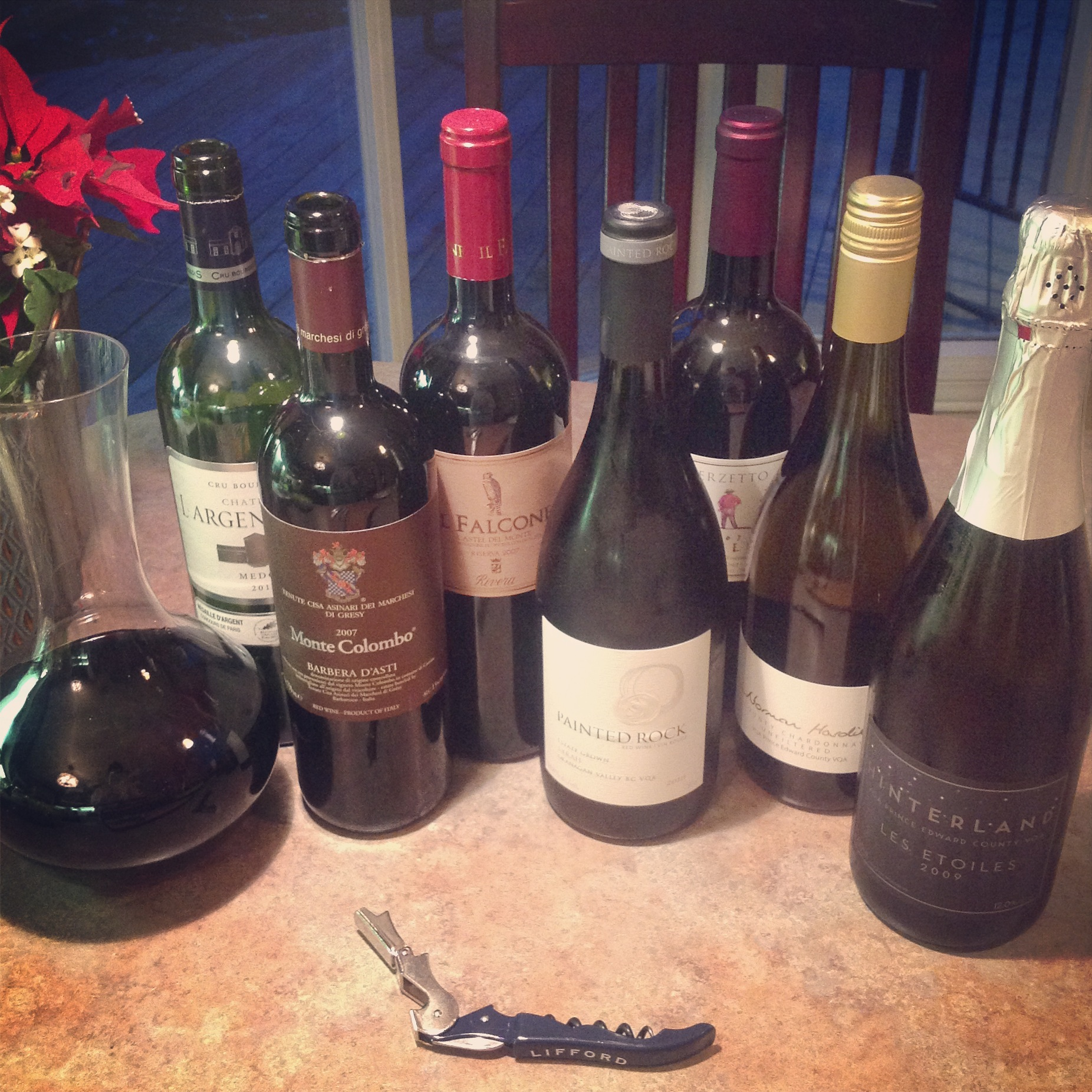 A humble collection of Christmas Eve wine.