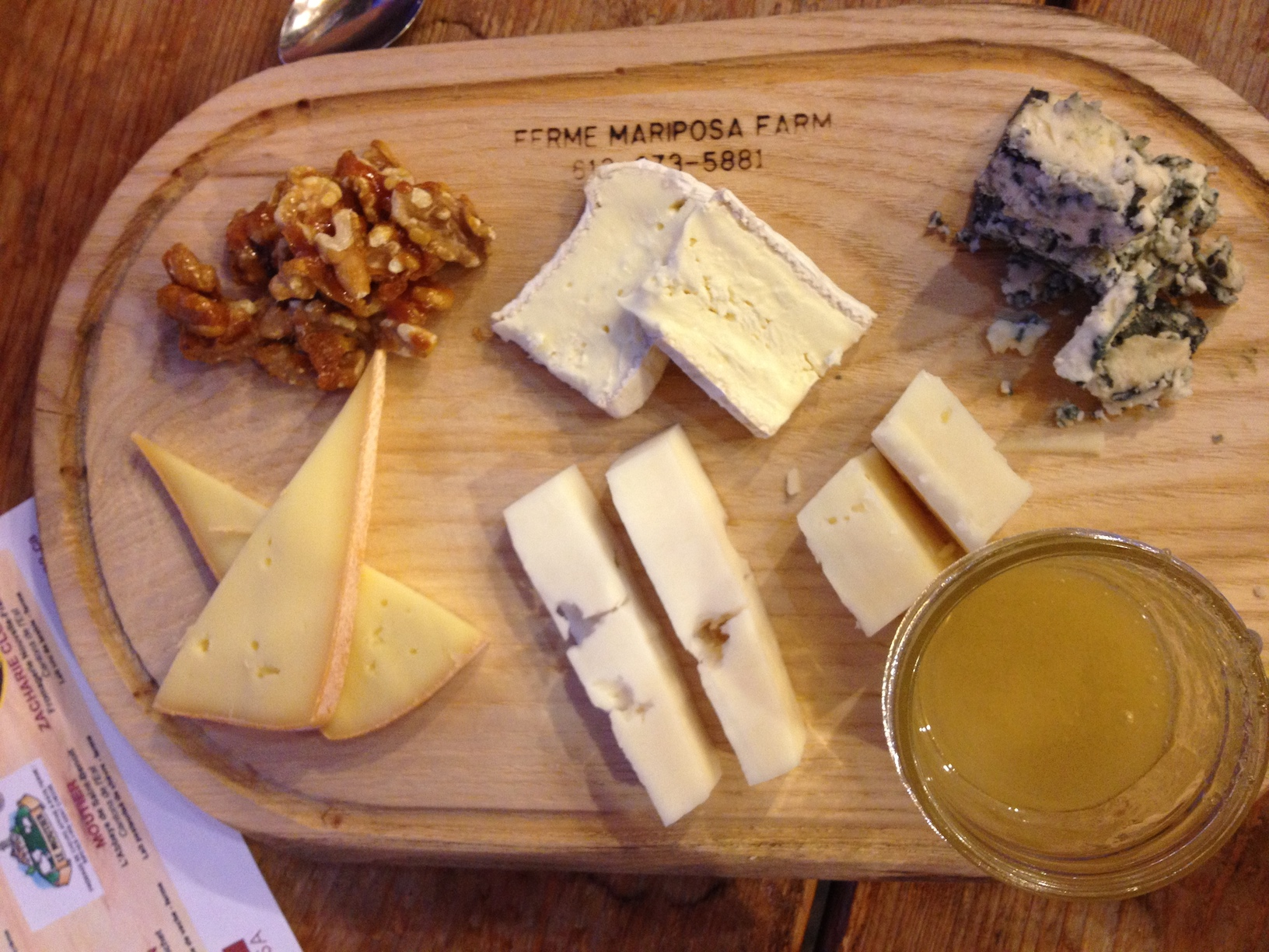 Quebec cheese course: Riopelle, Zacharie Cloutier, Bleu d'Elisabeth, Moutier, Baluchon.