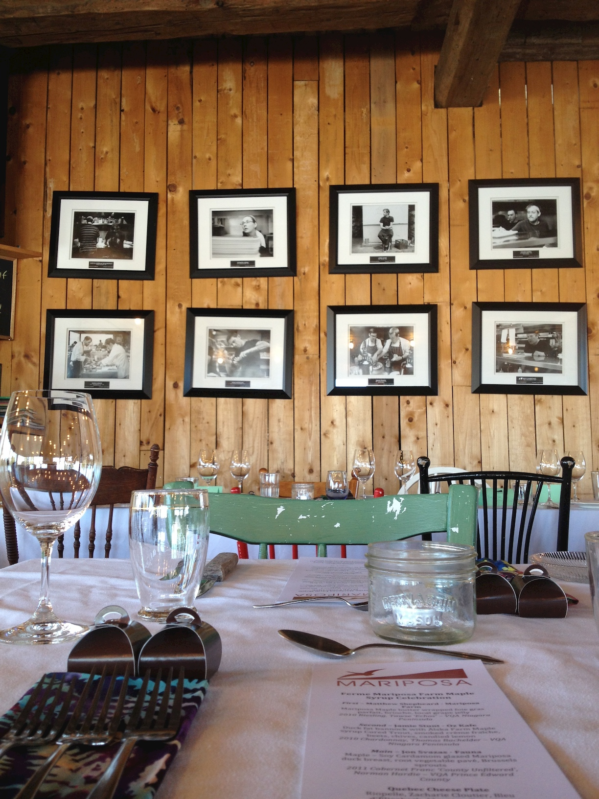 The country dining room and chef wall of fame at Mariposa Farm.