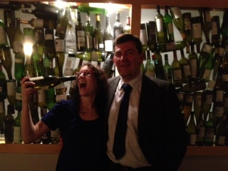 Kerri Smith and Olivier making sure all the wine is gone...