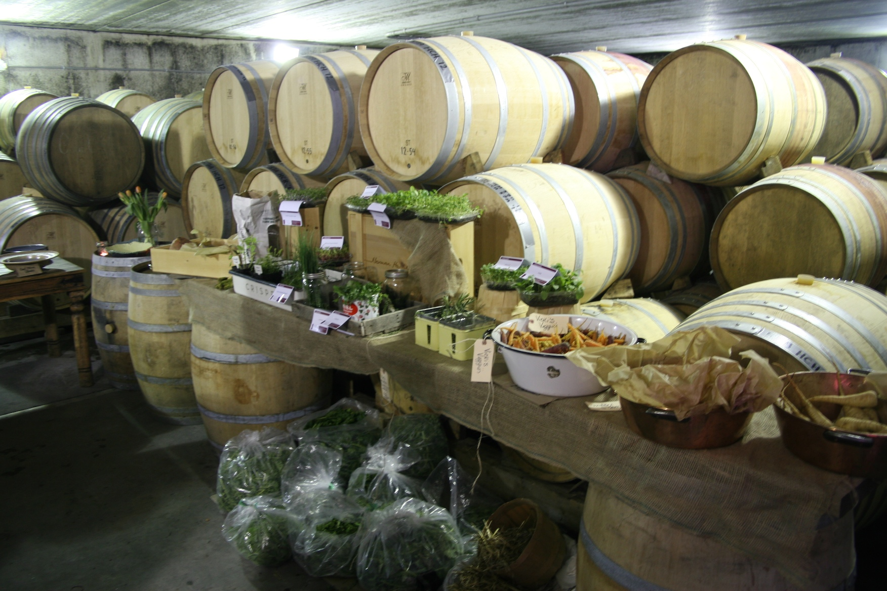 The barrel chamber temporarily transforms into the produce department for all the chefs...