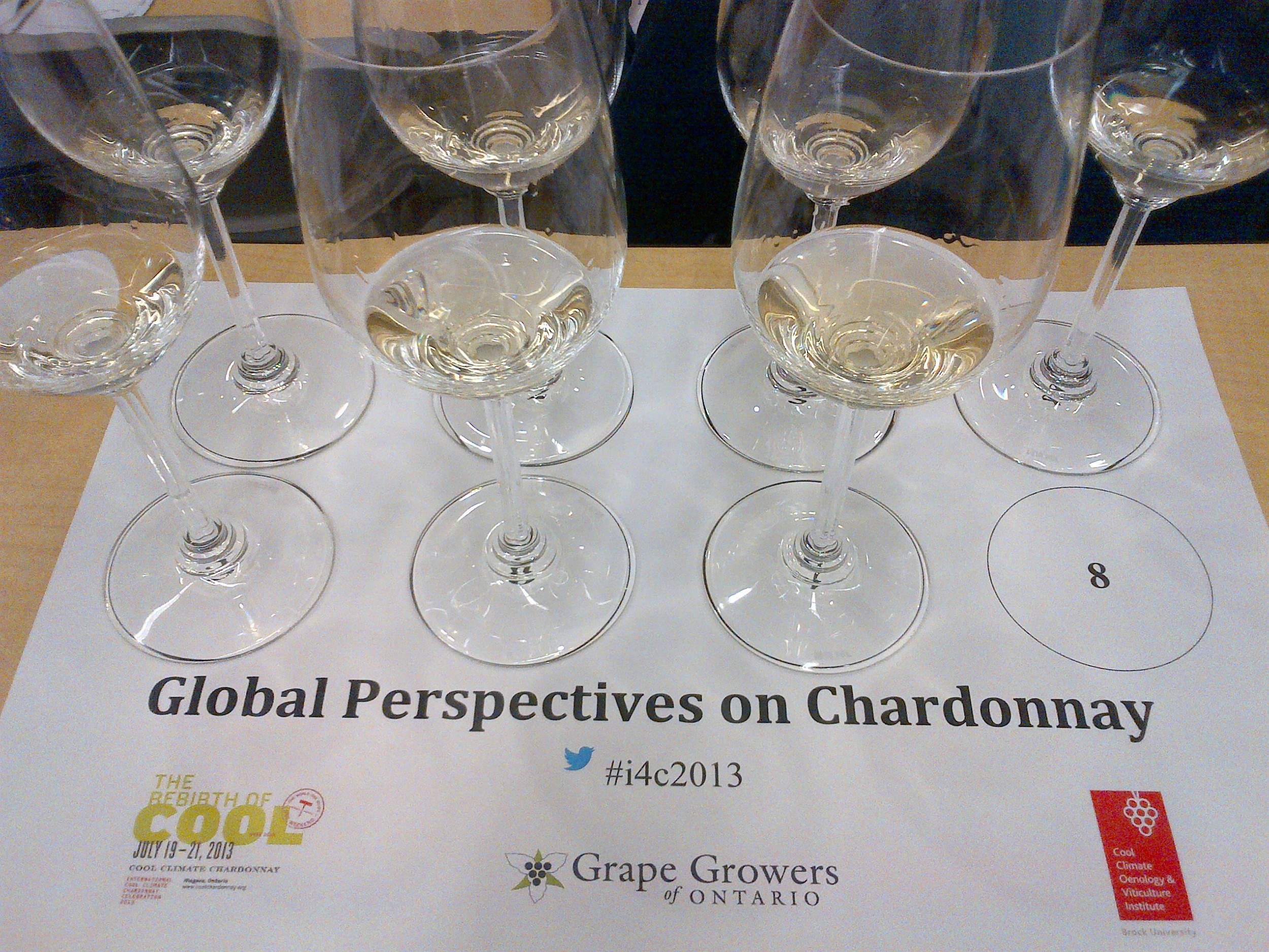 Blind Chardonnay lineup at i4c opening talk moderated by Steven Spurrier.