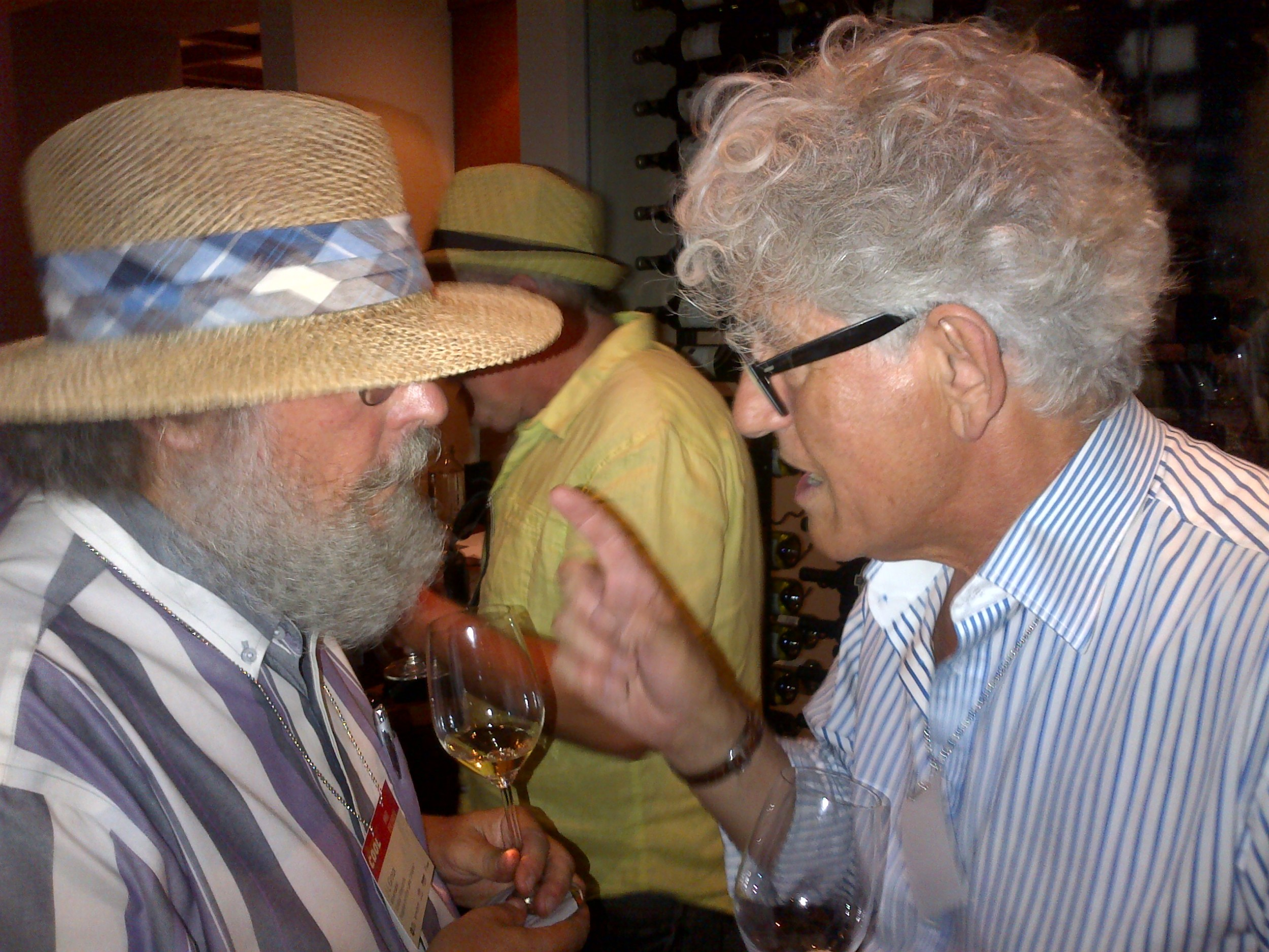 Jacques Lardiere of Louis Jadot giving some seemingly stern Chardonnay advice to Stratus'    J-L Groux.