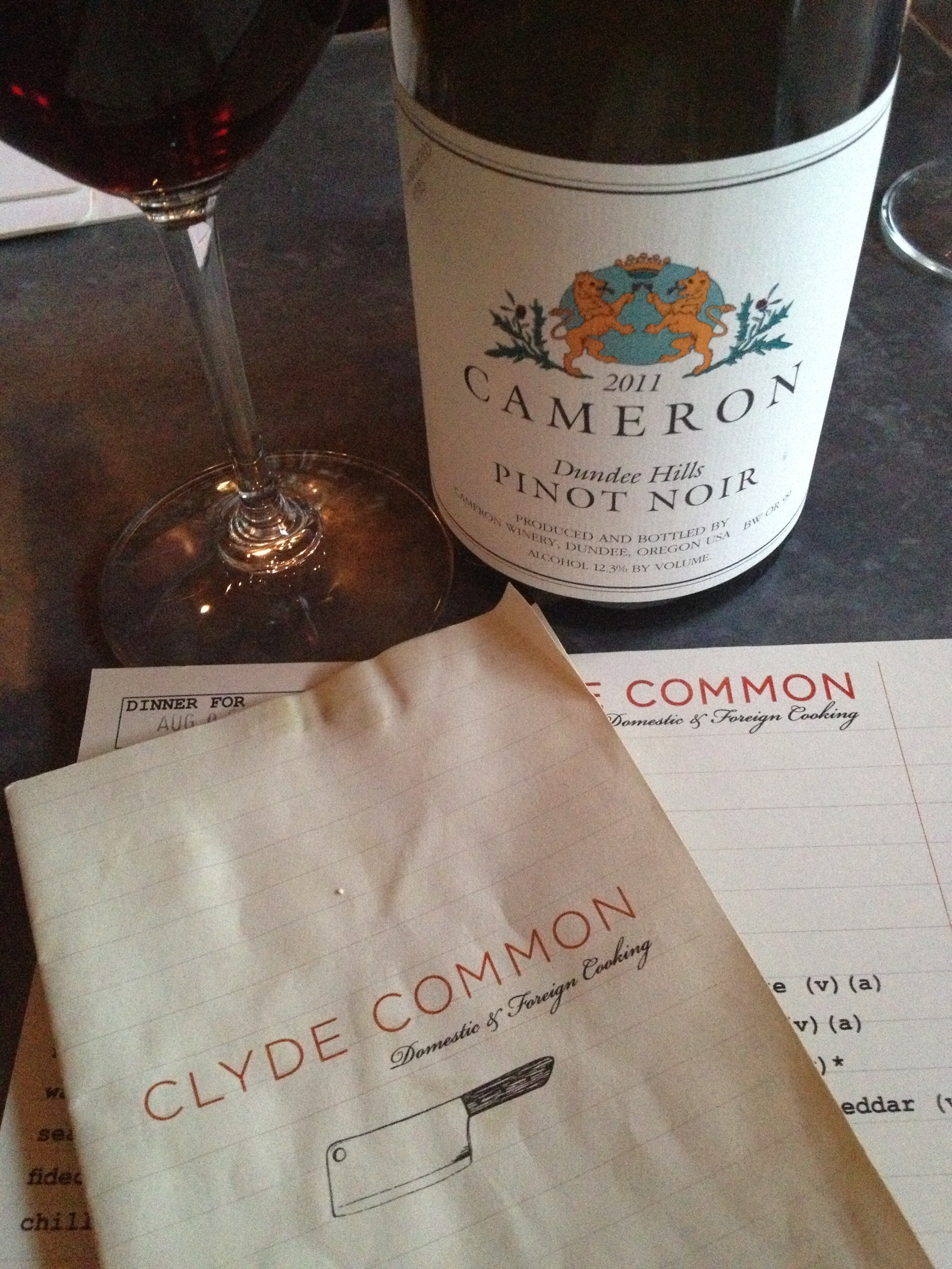 Finally found someone pouring the elusive Cameron Dundee Hills Pinot Noir. Kudos to Clyde Common in the Ace Hotel!