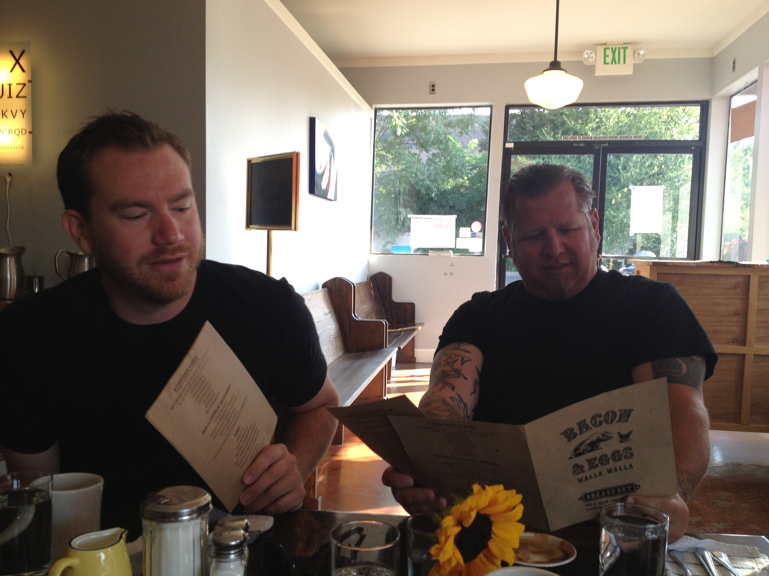 Breakfast and cocktails with winemakers Andrew Latta and Brennon Leighton at Bacon and Eggs. A couple of good dudes.