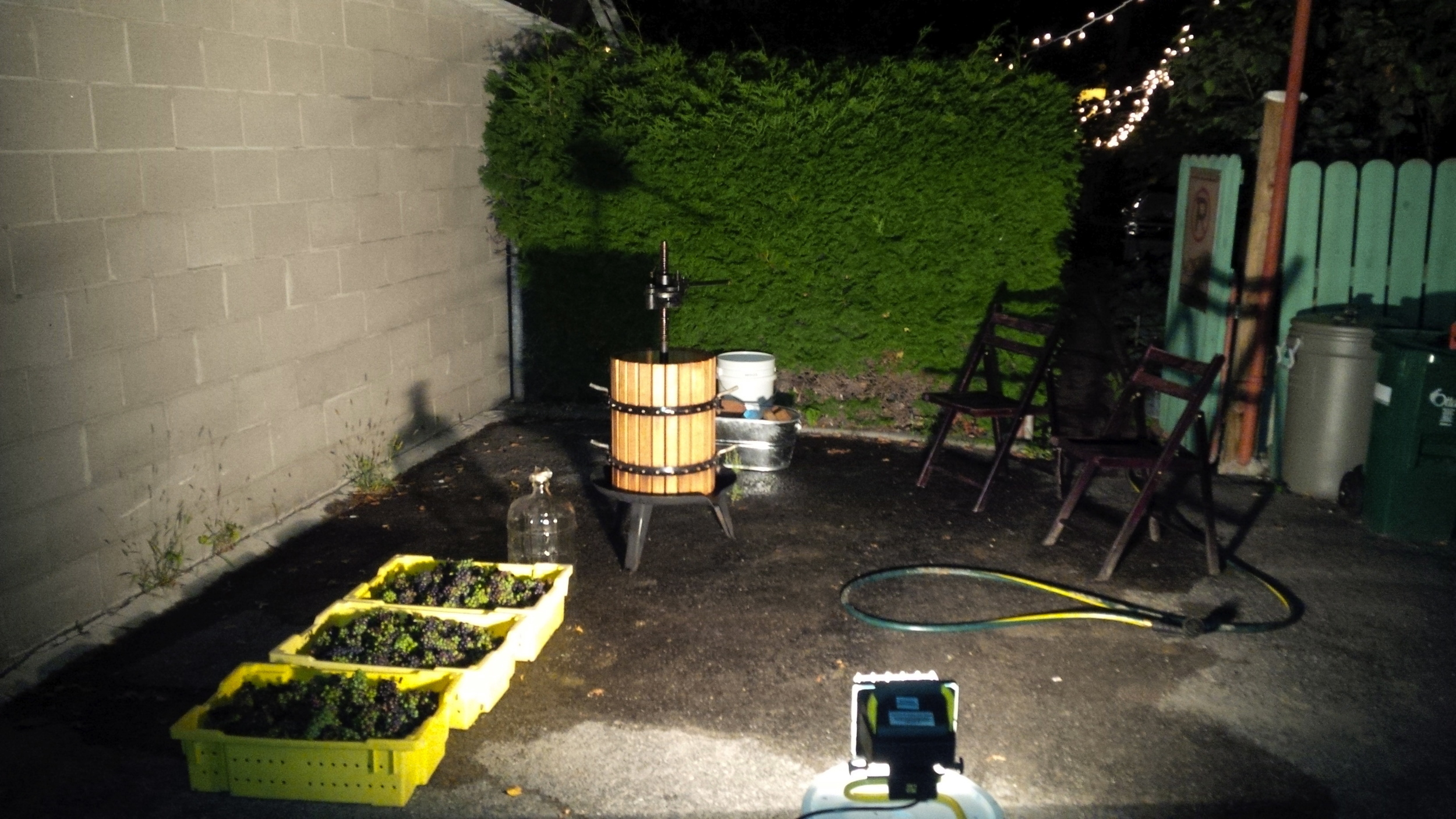The Hintonburg Crush Pad (HPC) set up, ready to receive a load of grapes.