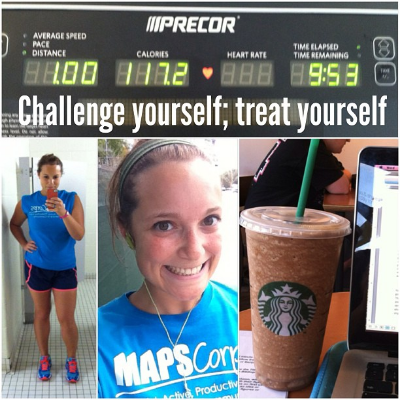 Really? Really? You ran one, almost 10 minute mile on the treadmill and you're treating yourself to a venti frappucino? Not your fault Emma. You're taught to reward yourself with food. You're taught that any amount of effort is better than nothing. Thank god you're not sitting on your butt, but sheesh.