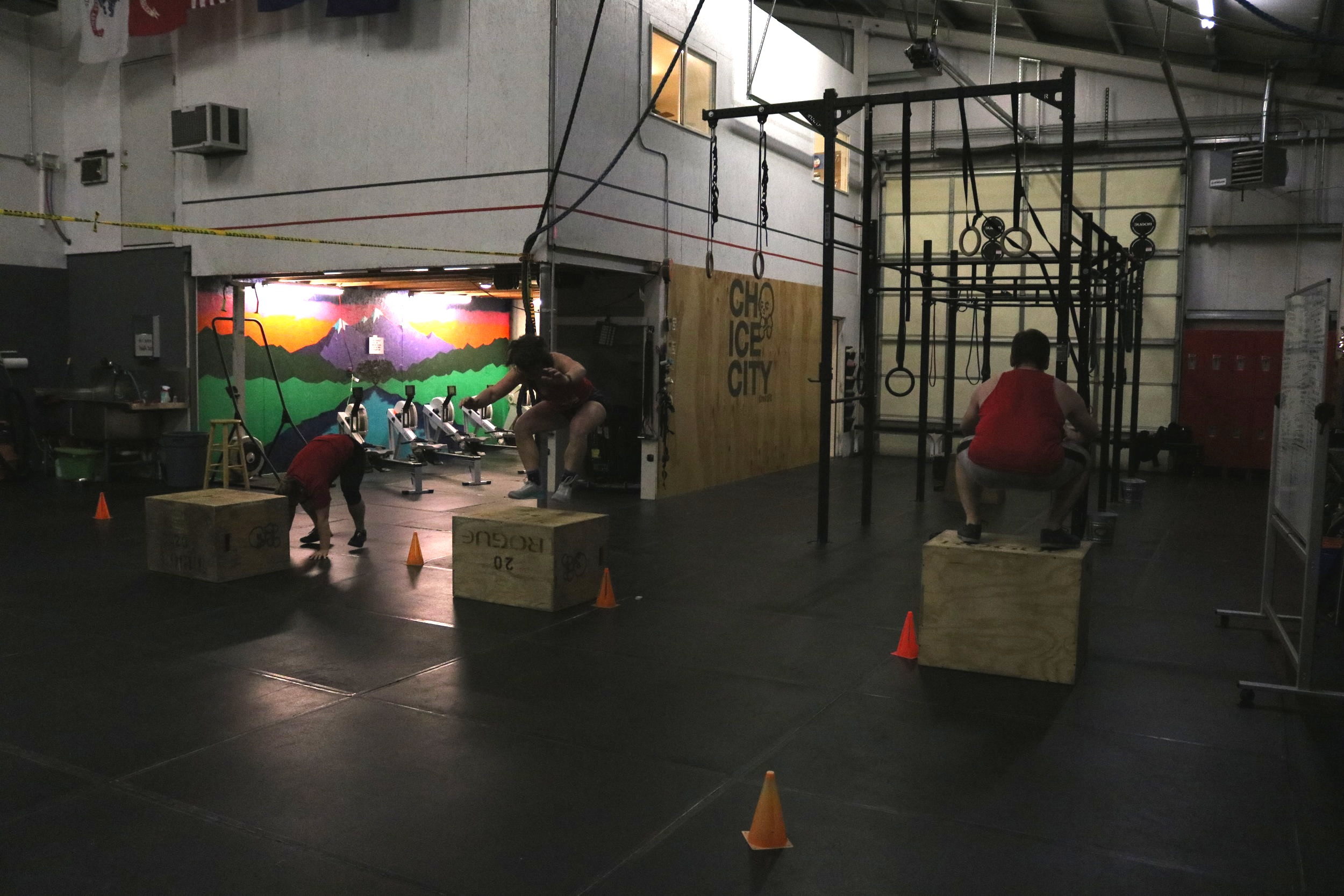 Doing it in the dark. Burpee box jumps and box jump-overs!