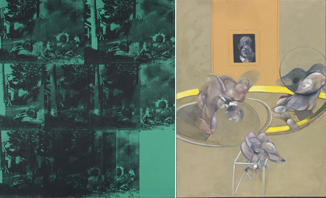 R. Andy Warhol,  Green Car Crash (Green Burning Car I)  1963.  R. Francis Bacon,  Three Figures and Portrait.  1975