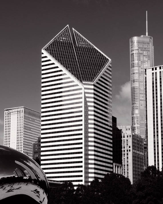 """Skyline with """"The Bean"""" in lower left"""