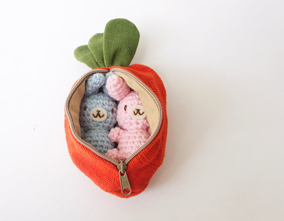 Set of 2 Crocheted Bunnies (in a carrot pouch!)